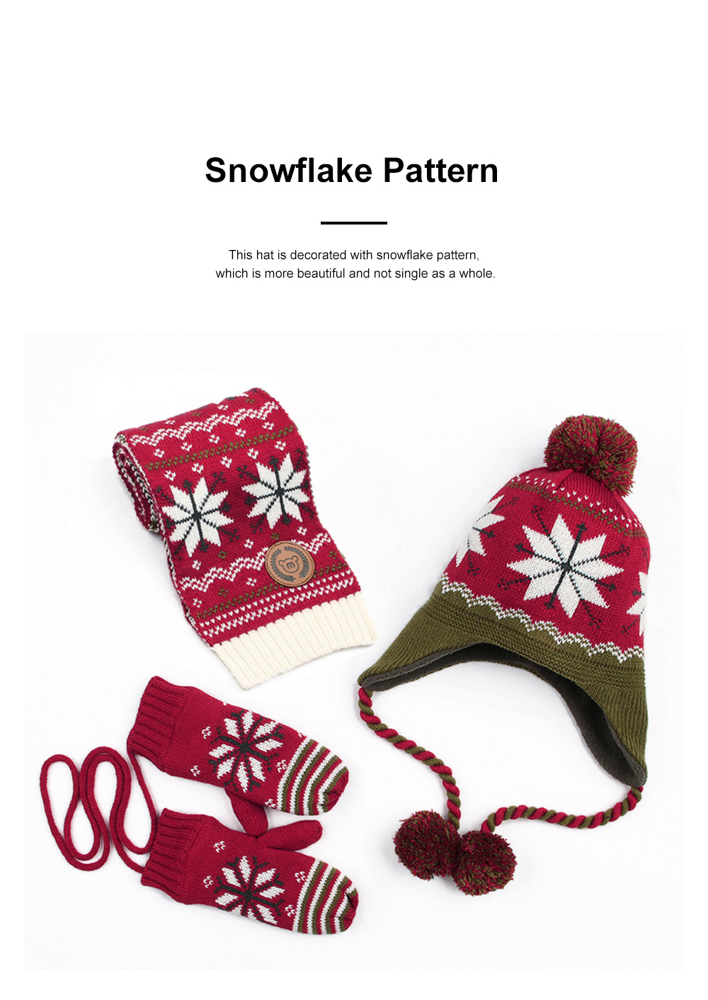 New Children's Hat Warm and Plush Hat for Boys and Girls Snow Flake Decorated Christmas Style Autumn Winter Hat 1