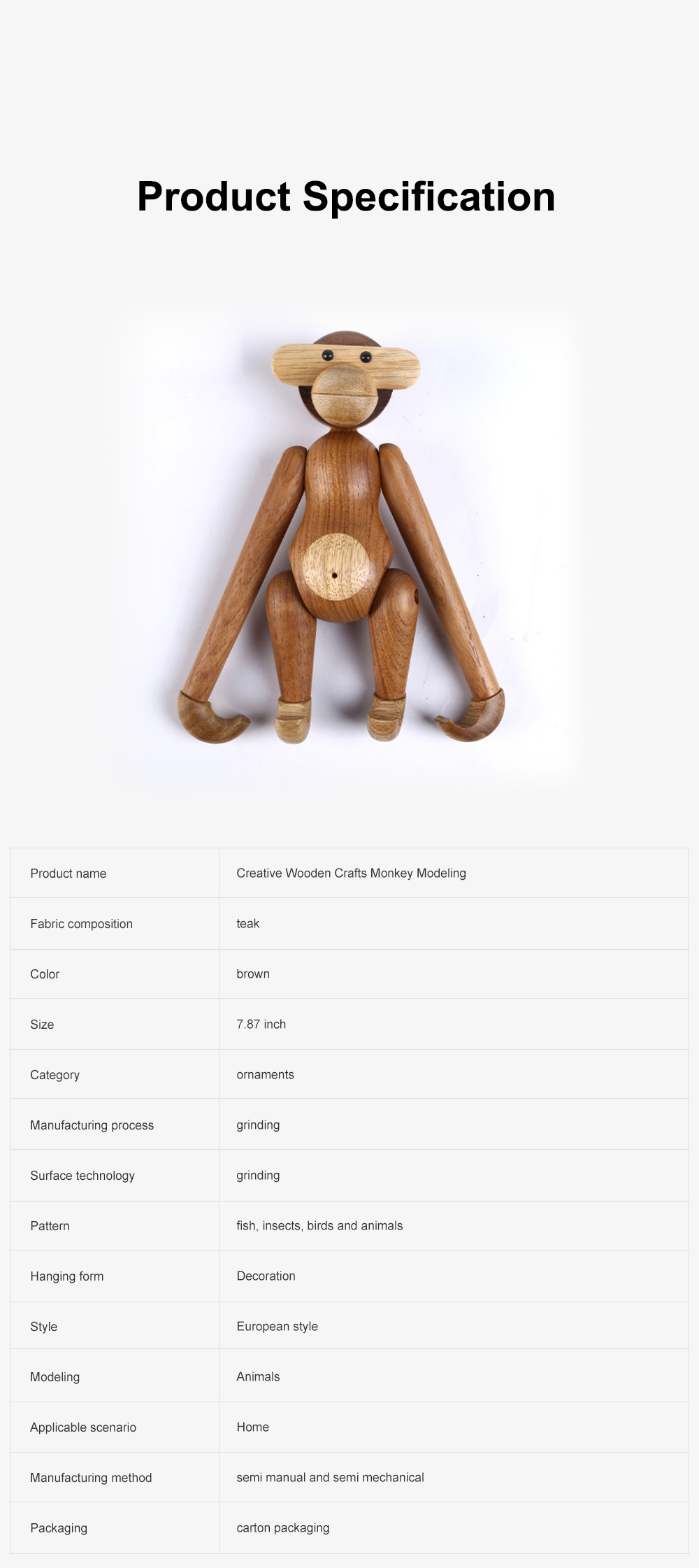 Creative Wooden Crafts Monkey Modeling Ornament Puppet Monkey Rotatable Head Limbs Nordic Denmark Teak Gift Ornament 6