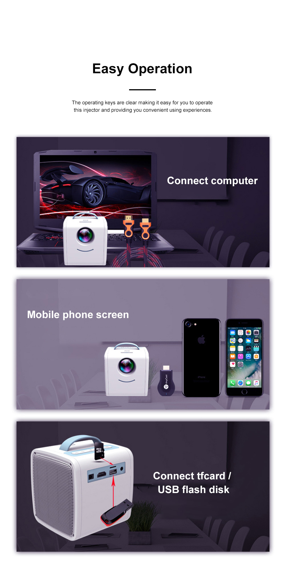 Portable Q2 Mini Household Children High Definition LED Projector Easy Operation Multiple Video Input Modes 3