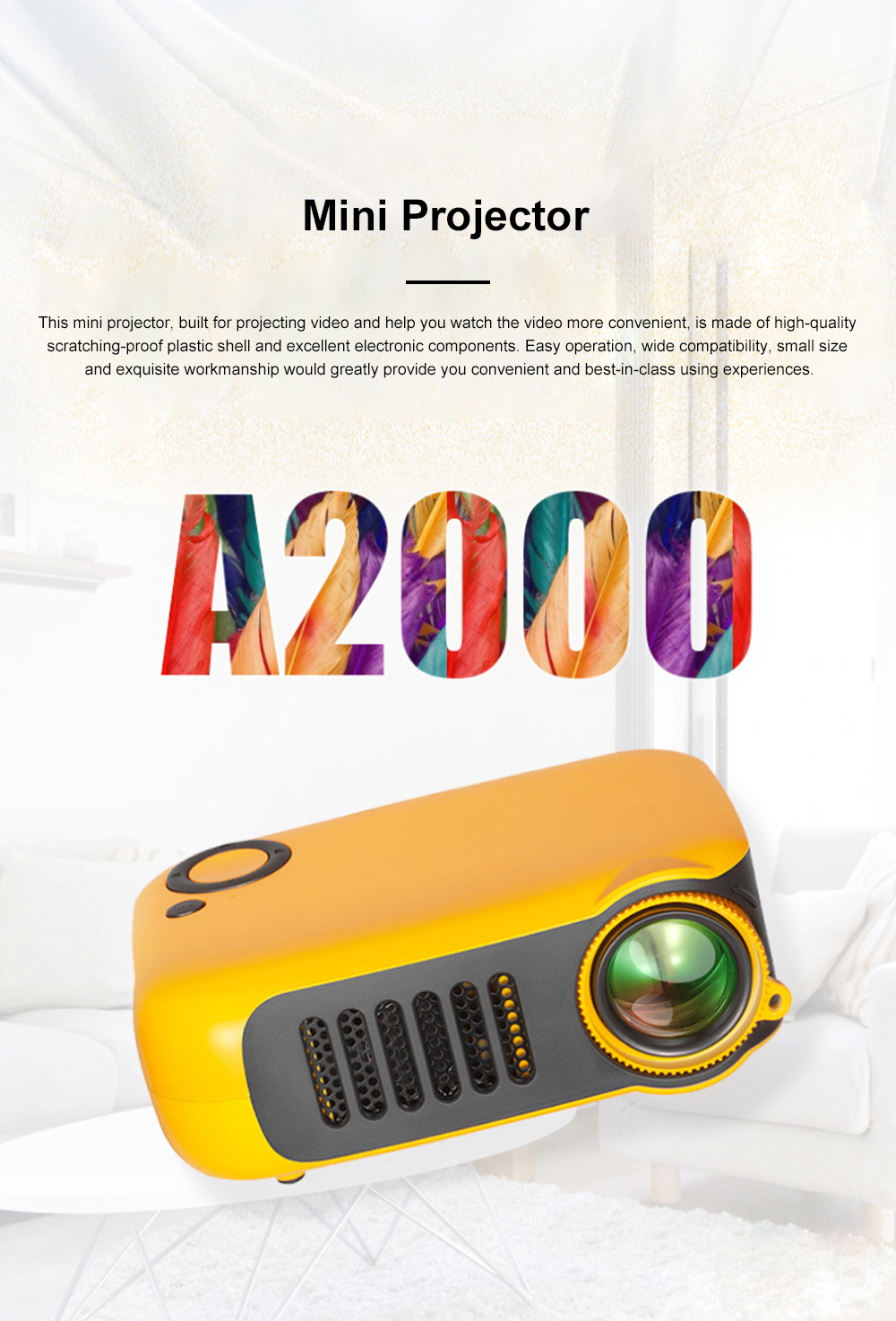 A2000 Mini Portable Household High Lightness Desktop Projector HD 1080P Projection with Wide Compatibility 0