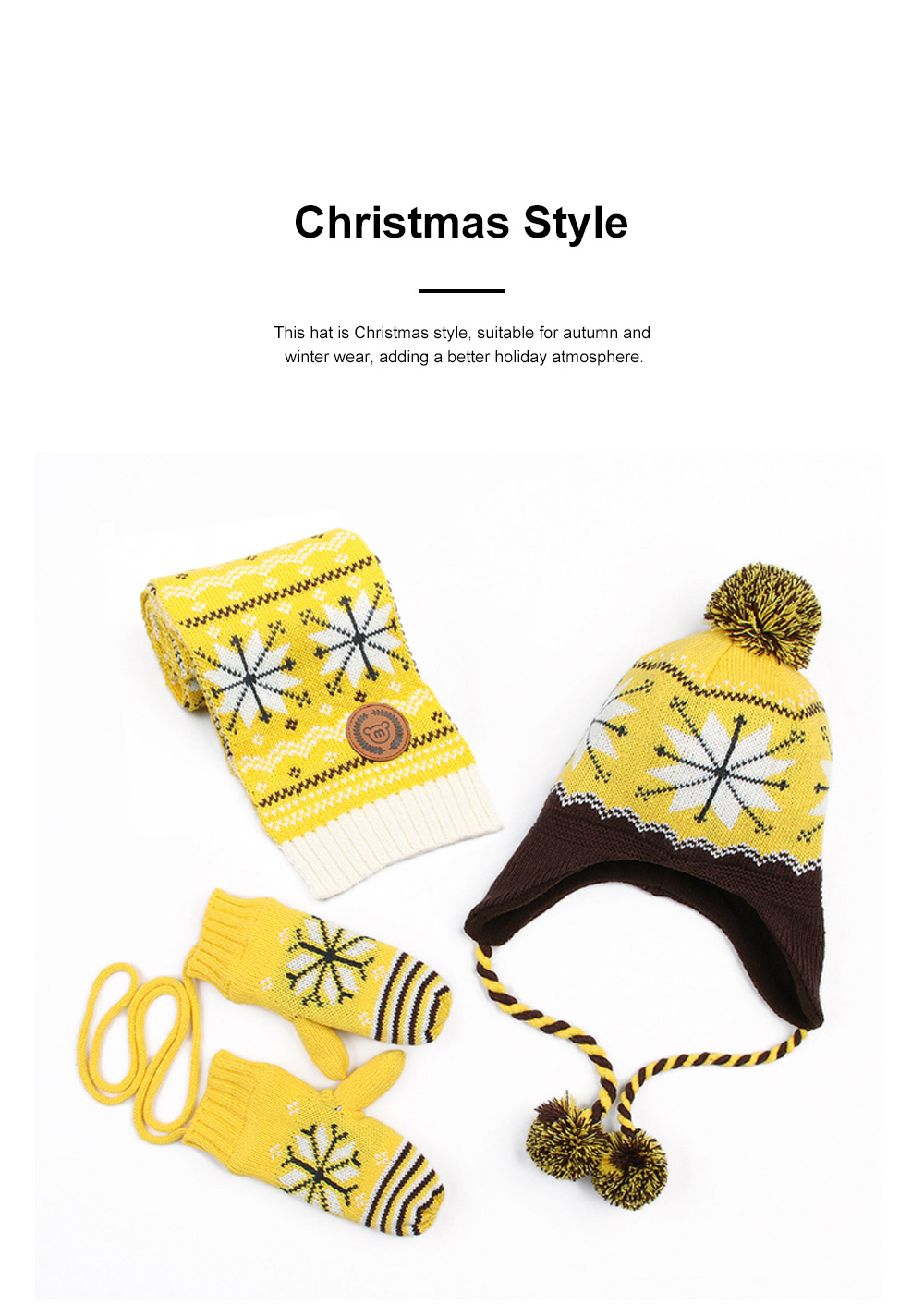 New Children's Hat Warm and Plush Hat for Boys and Girls Snow Flake Decorated Christmas Style Autumn Winter Hat 3