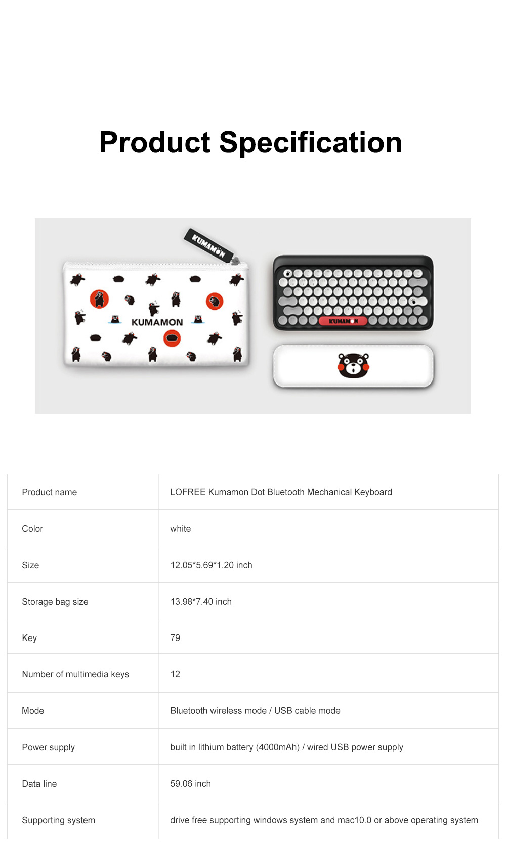LOFREE Kumamon Dot Bluetooth Mechanical Keyboard Laptop Tablet IPAD Wireless Retro Keyboard 7