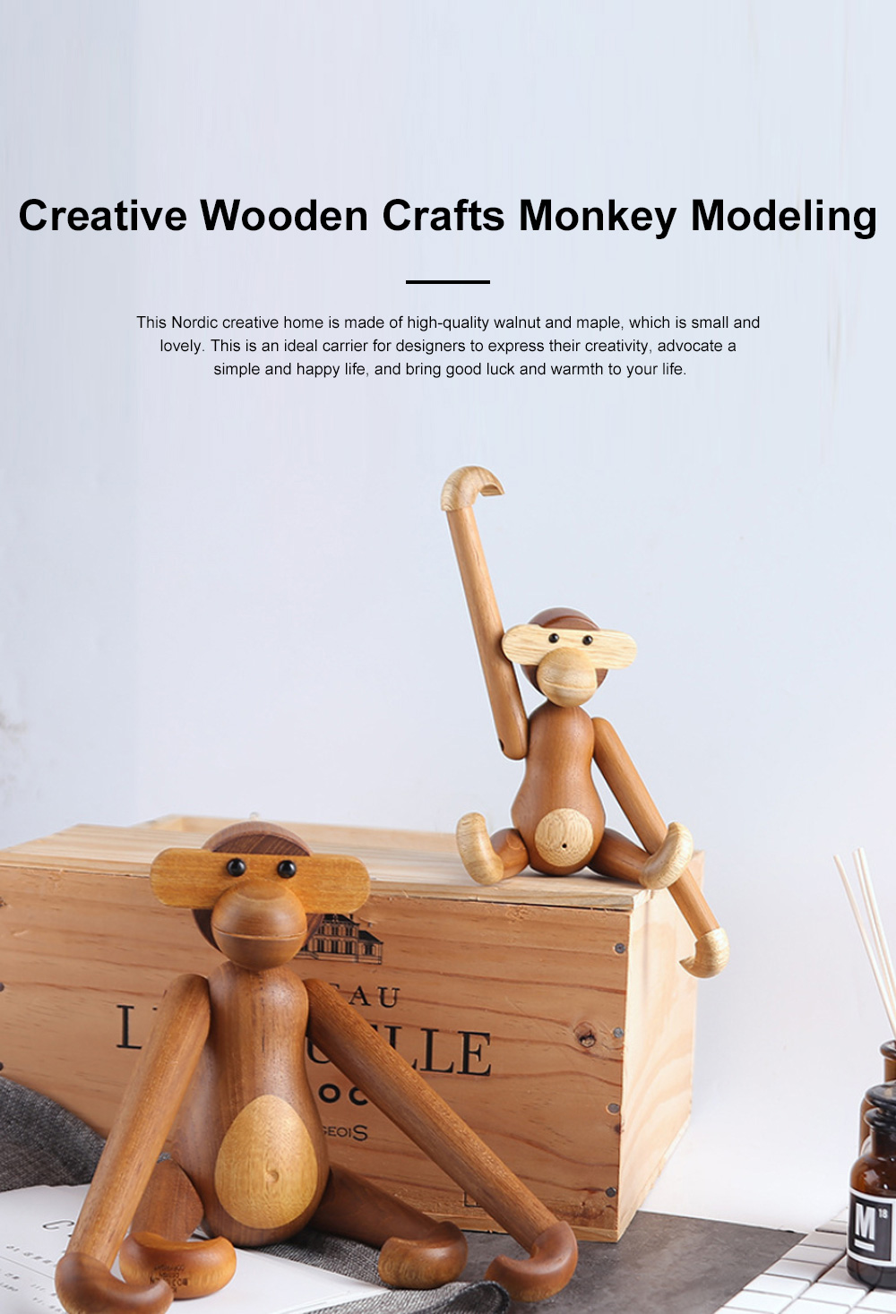 Creative Wooden Crafts Monkey Modeling Ornament Puppet Monkey Rotatable Head Limbs Nordic Denmark Teak Gift Ornament 0