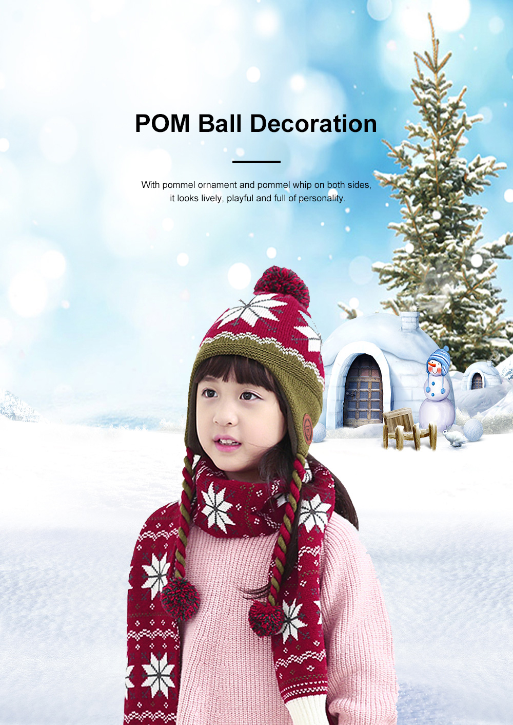 New Children's Hat Warm and Plush Hat for Boys and Girls Snow Flake Decorated Christmas Style Autumn Winter Hat 4