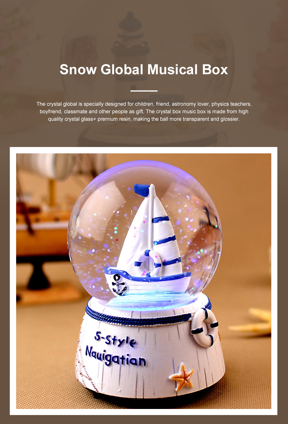 Mini Sailing Lighthouse Crystal Ball LED Base 3D Crystal Ball Night Light with Stand 5 Colors Change for Kids Baby Bedroom Decor Birthday Gift Snow Global Musical Box 0