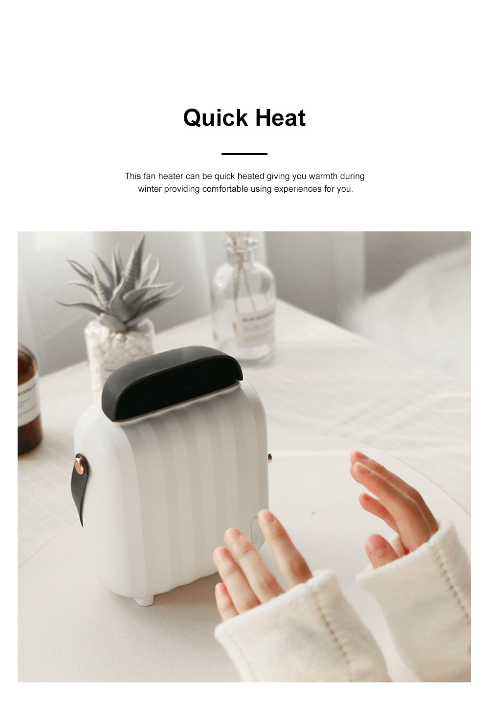 Portable Household Desktop Quick-Heat Fan Heater with Intelligent Power Protection Convenient Handle Flame-retarded Shell 1