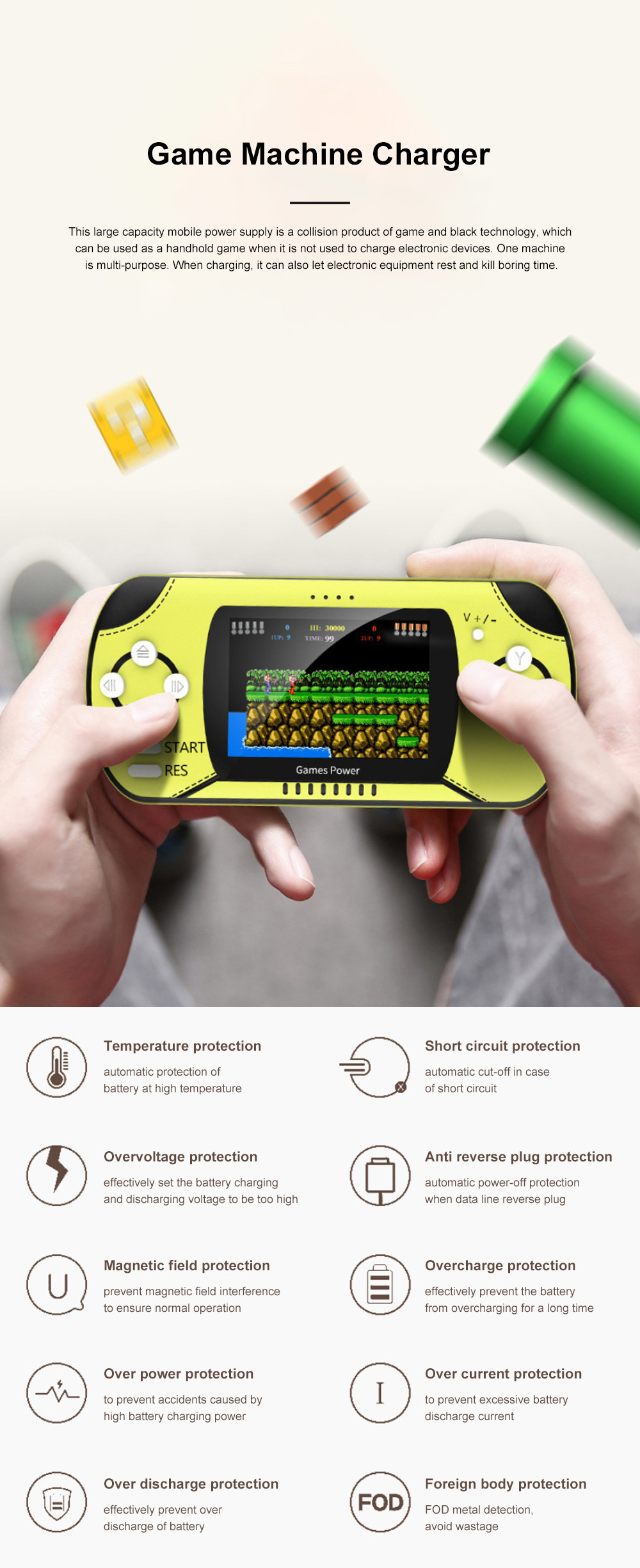 Dual Use Retro Game Machine Charger Palm Nostalgic Game Machine Portable Large Capacity Wireless Mobile Power Charger 0