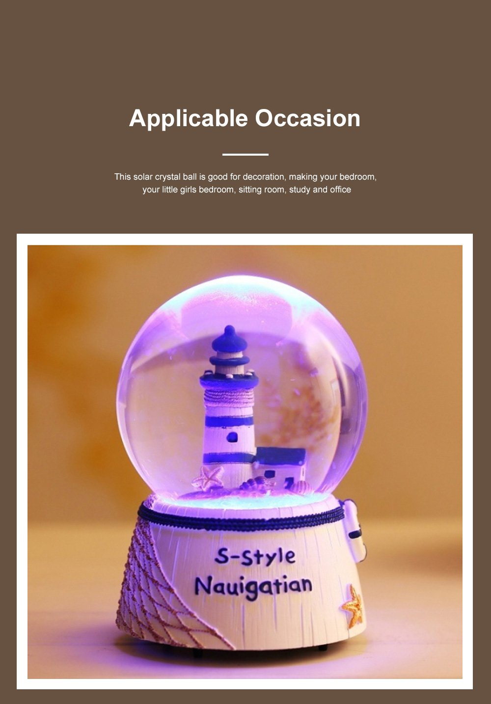 Mini Sailing Lighthouse Crystal Ball LED Base 3D Crystal Ball Night Light with Stand 5 Colors Change for Kids Baby Bedroom Decor Birthday Gift Snow Global Musical Box 4