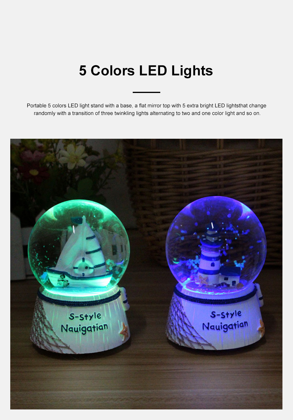 Mini Sailing Lighthouse Crystal Ball LED Base 3D Crystal Ball Night Light with Stand 5 Colors Change for Kids Baby Bedroom Decor Birthday Gift Snow Global Musical Box 5