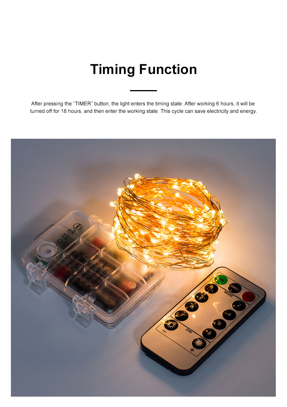Waterproof 8 Modes LED String Lamp 3 AA Battery Powered Light String with Remote Control Timing Function for Christmas Decoration 5
