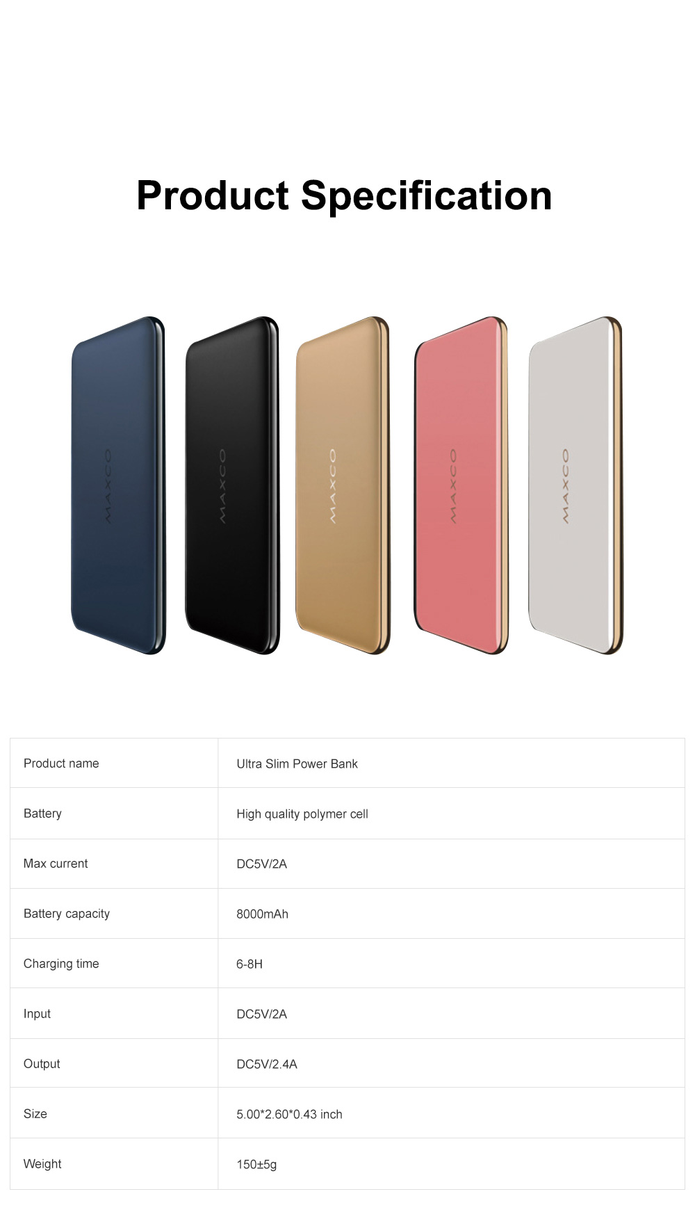 Ultra Slim 11mm Power Bank 8000mAh Quick Charging Mobile Power Supply For iPhone X iPhone 11 Pro 7