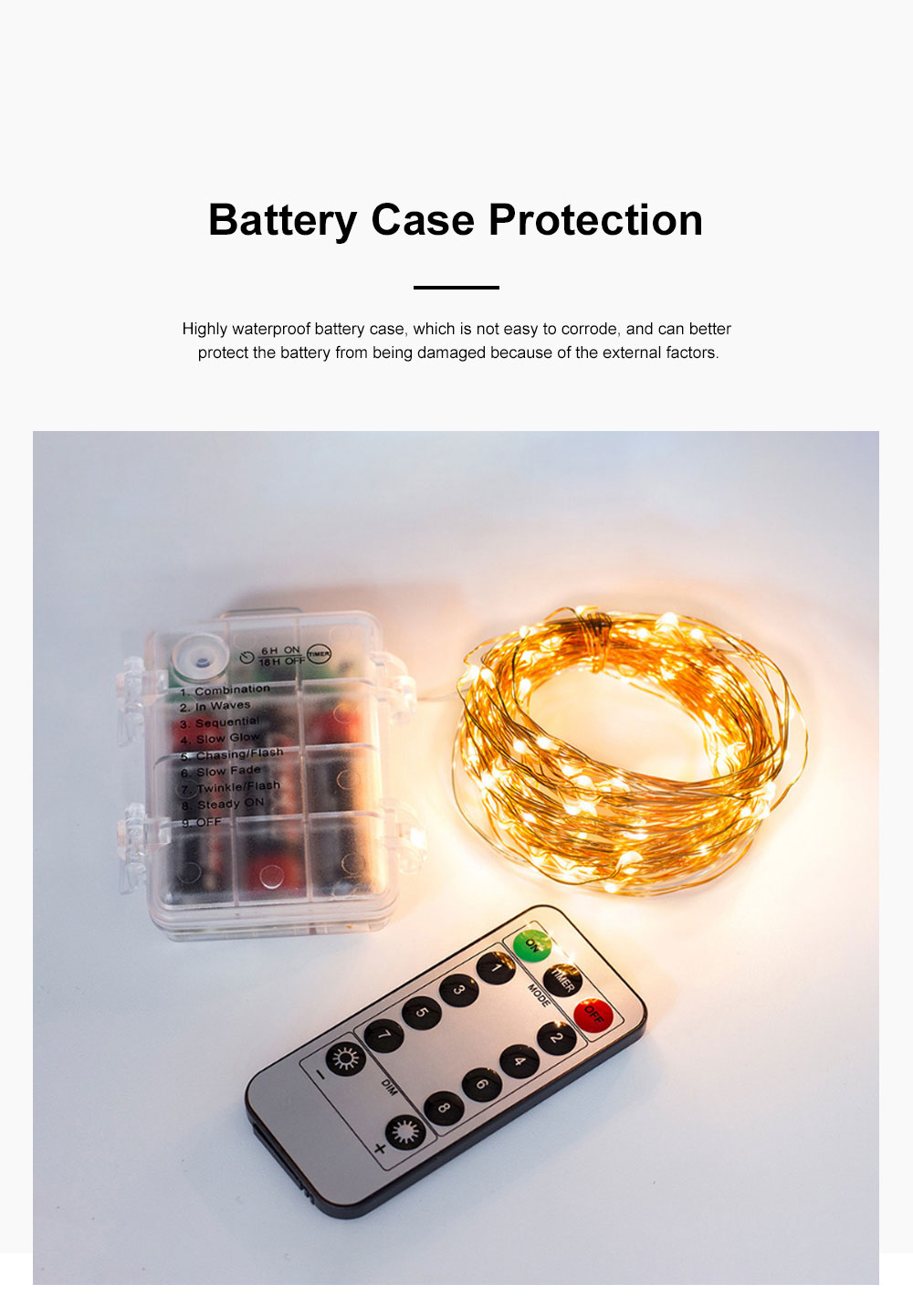 Waterproof 8 Modes LED String Lamp 3 AA Battery Powered Light String with Remote Control Timing Function for Christmas Decoration 3