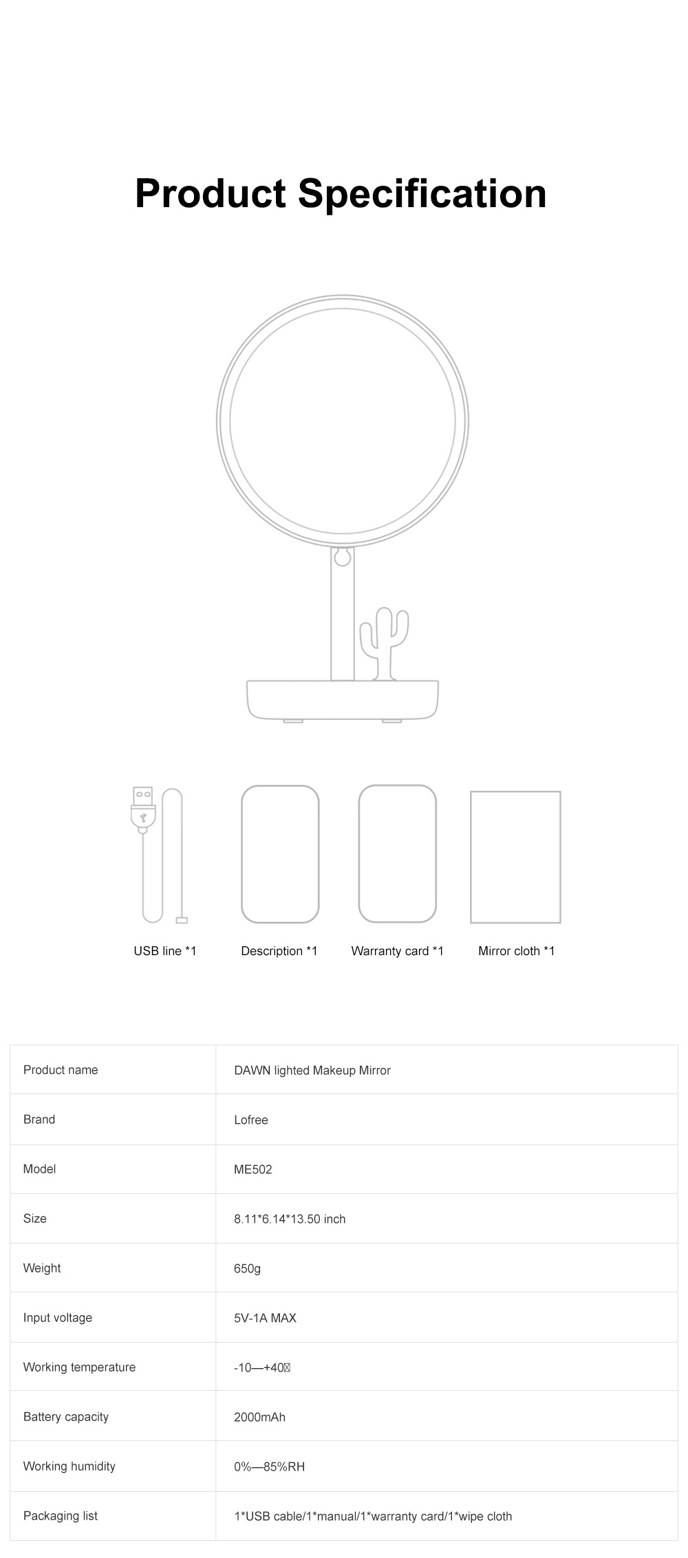 LOFREE 7 Inch Makeup Mirror Rechargeable Vanity Mirror with Adjustable Brightness Double-layer Storage and Rotation Switch 8