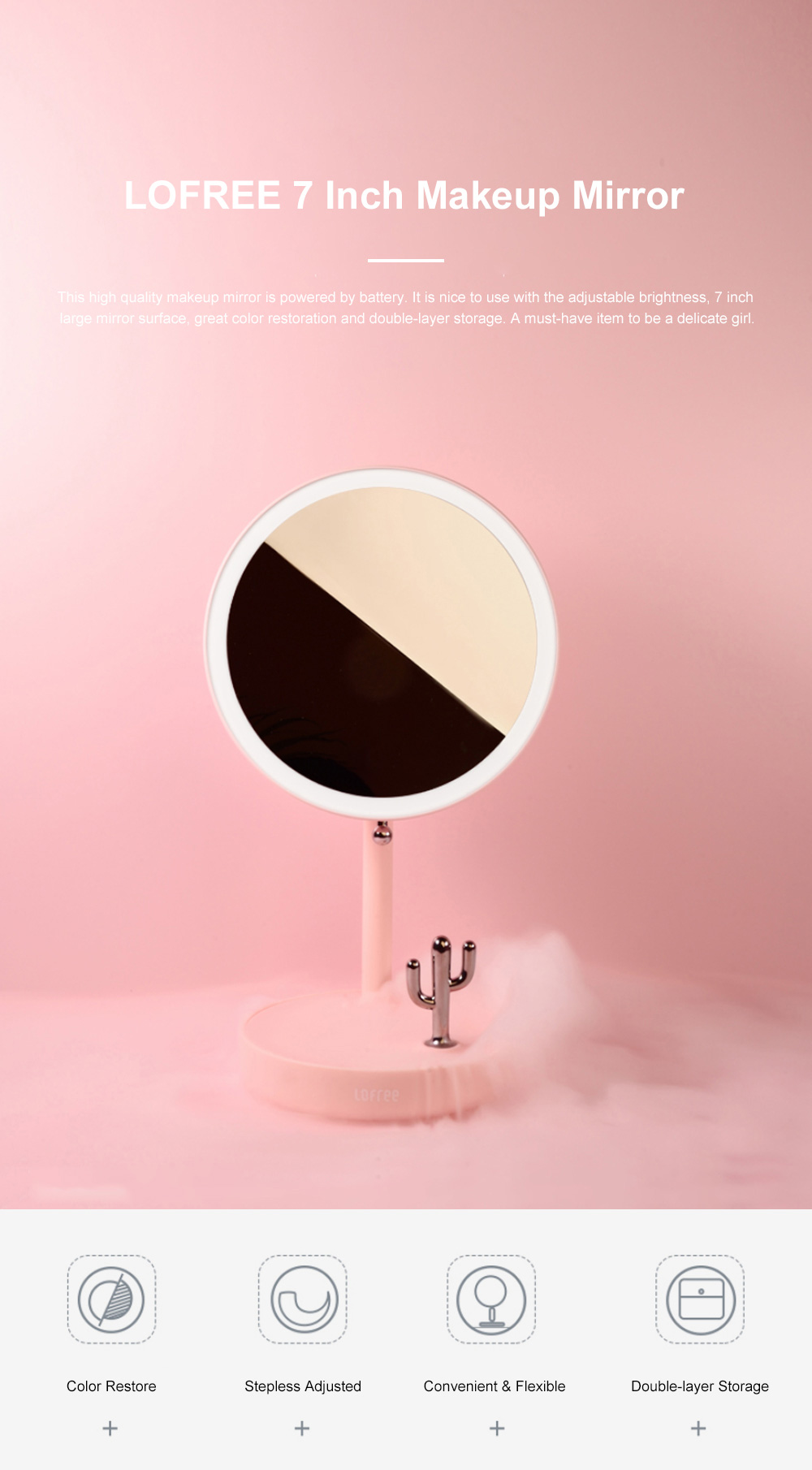 LOFREE 7 Inch Makeup Mirror Rechargeable Vanity Mirror with Adjustable Brightness Double-layer Storage and Rotation Switch 0