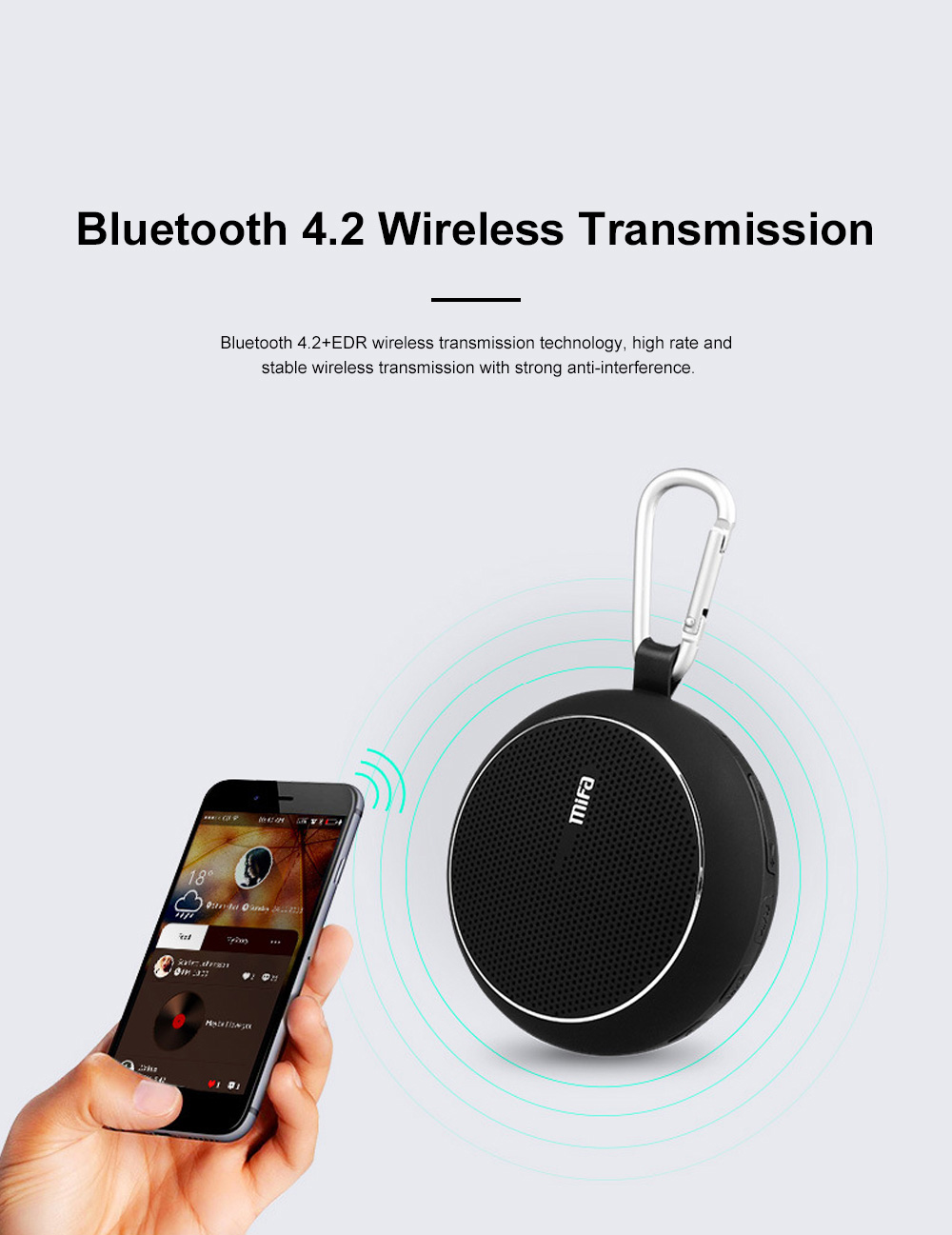 Wireless Bluetooth Speaker Portable Outdoor Ride Speaker Rich Bass and Metal Hook for Travel 4