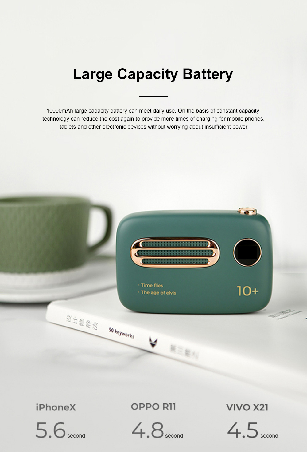 10000mAh Digital Power Bank Portable Retro Radio Mobile Charger with Dual USB Port Fast Chargers For Smart Phones Tablets Charging 1