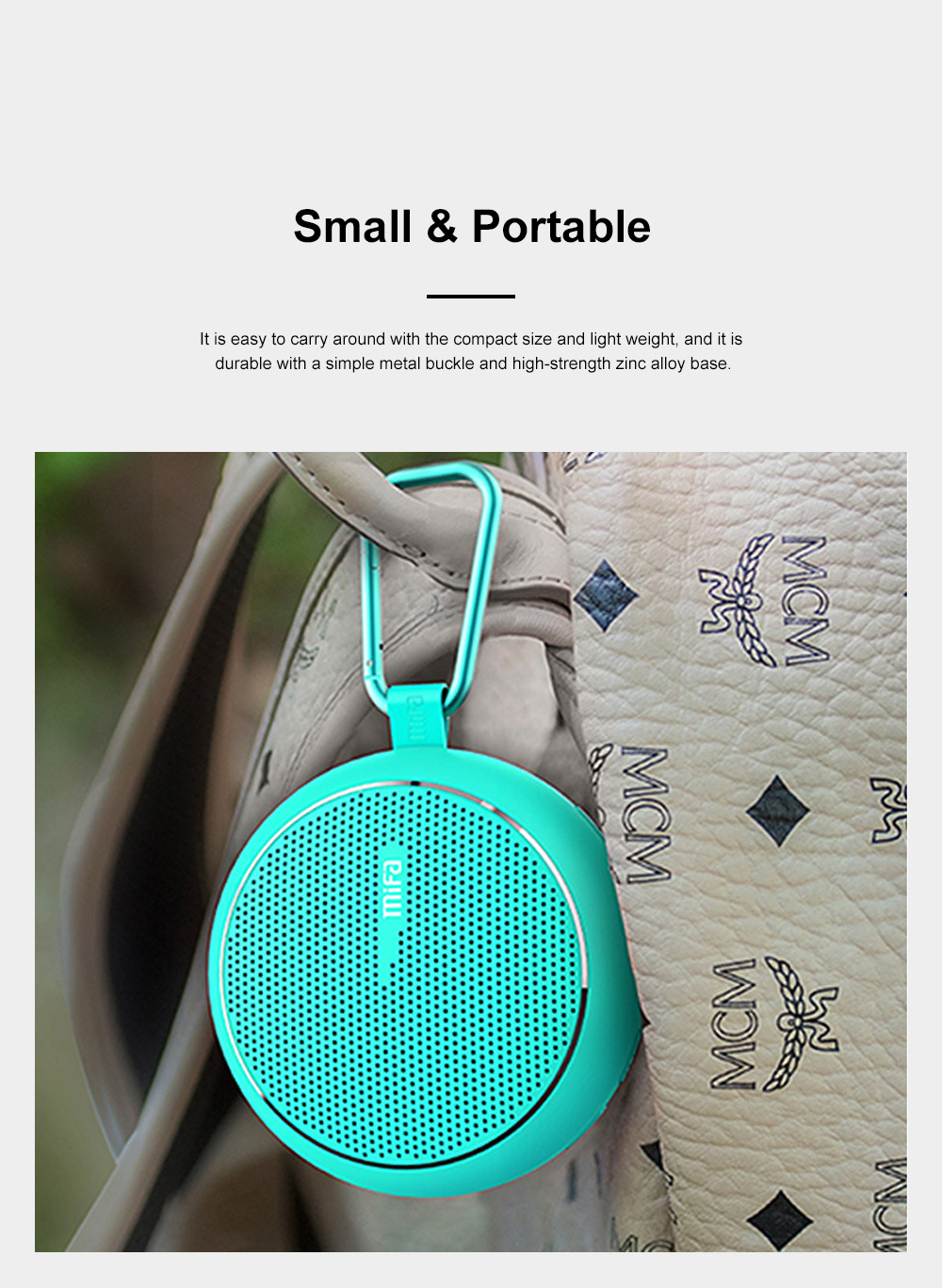 Wireless Bluetooth Speaker Portable Outdoor Ride Speaker Rich Bass and Metal Hook for Travel 8
