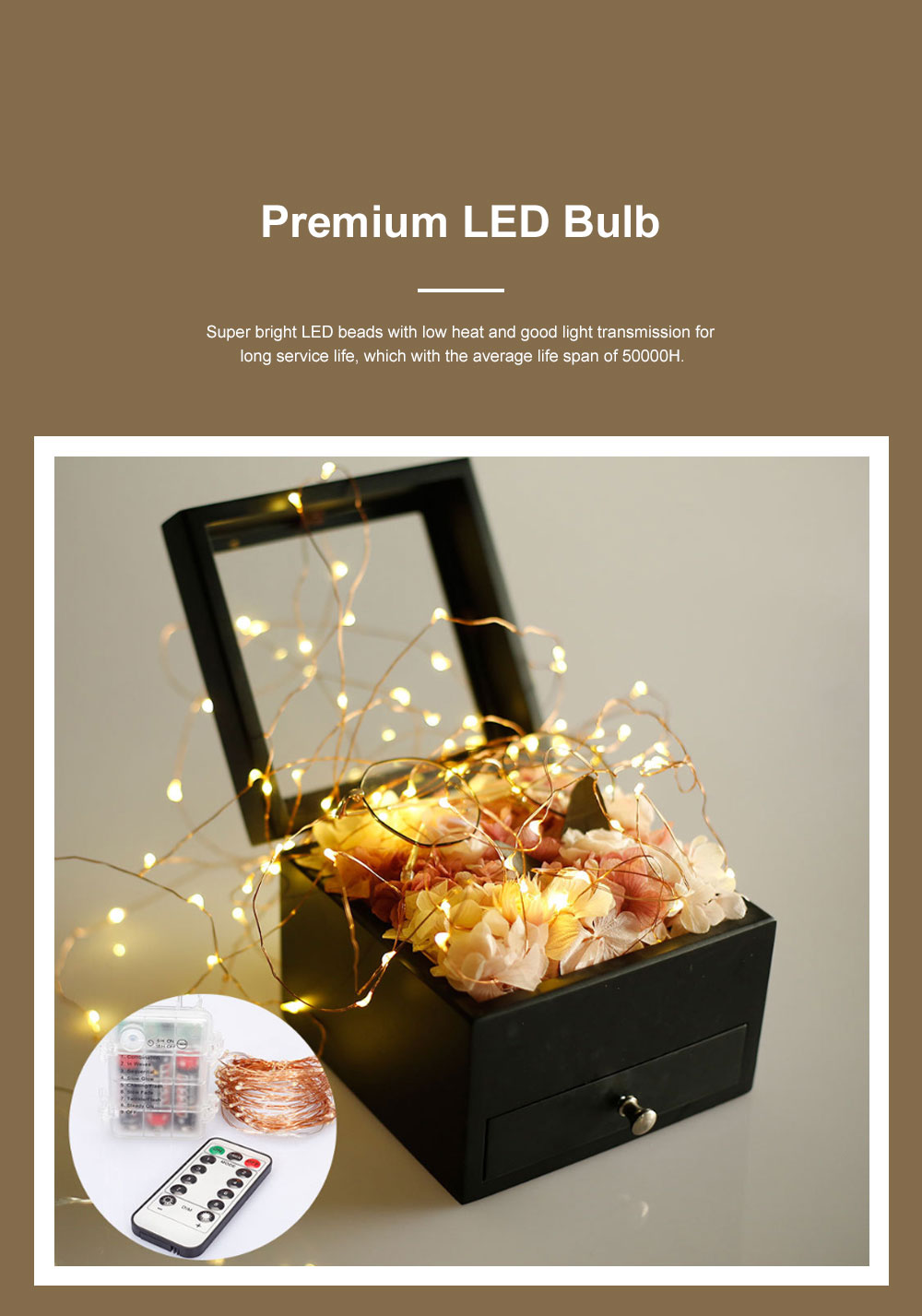 Waterproof 8 Modes LED String Lamp 3 AA Battery Powered Light String with Remote Control Timing Function for Christmas Decoration 2