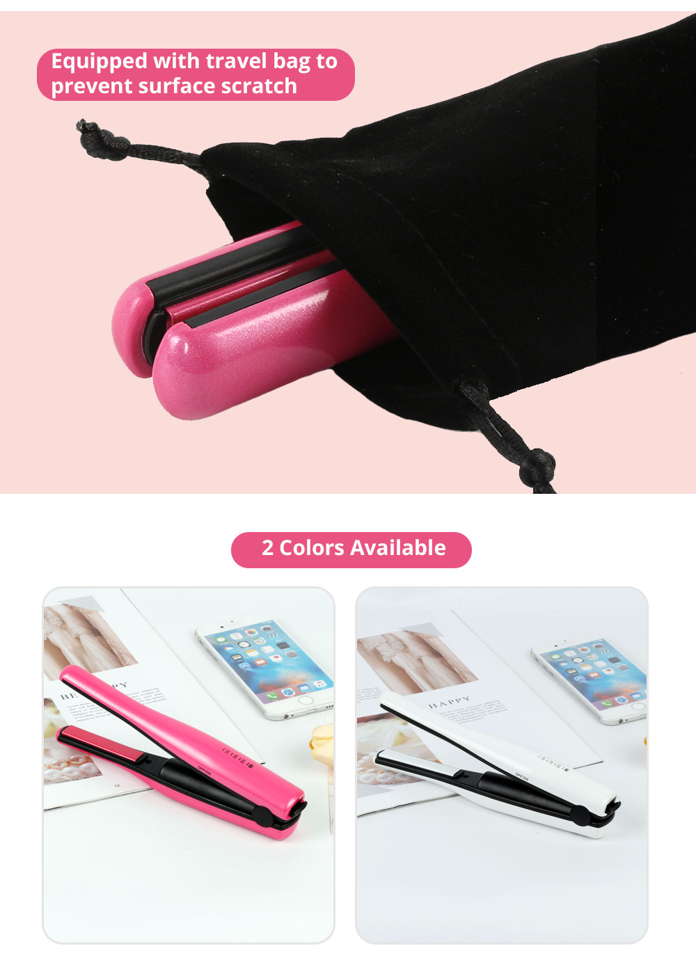 Mini Travel Portable Hair Straightener Curling Iron Cordless USB Charger for Beginner Christmas Gift BLACK FRIDAY SALE 2