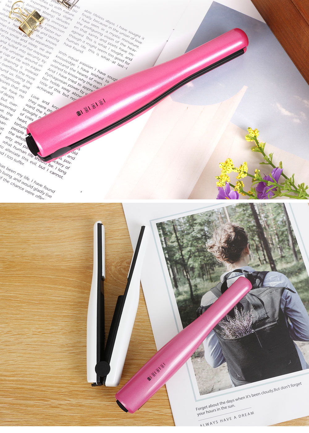 Mini Travel Portable Hair Straightener Curling Iron Cordless USB Charger for Beginner Christmas Gift BLACK FRIDAY SALE 7