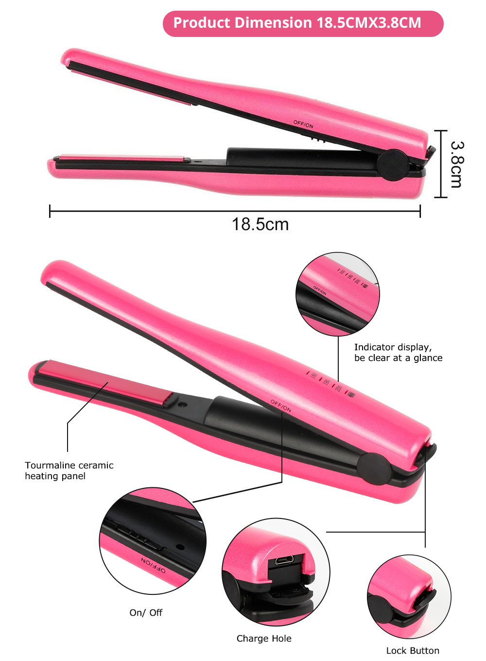 Mini Travel Portable Hair Straightener Curling Iron Cordless USB Charger for Beginner Christmas Gift BLACK FRIDAY SALE 5