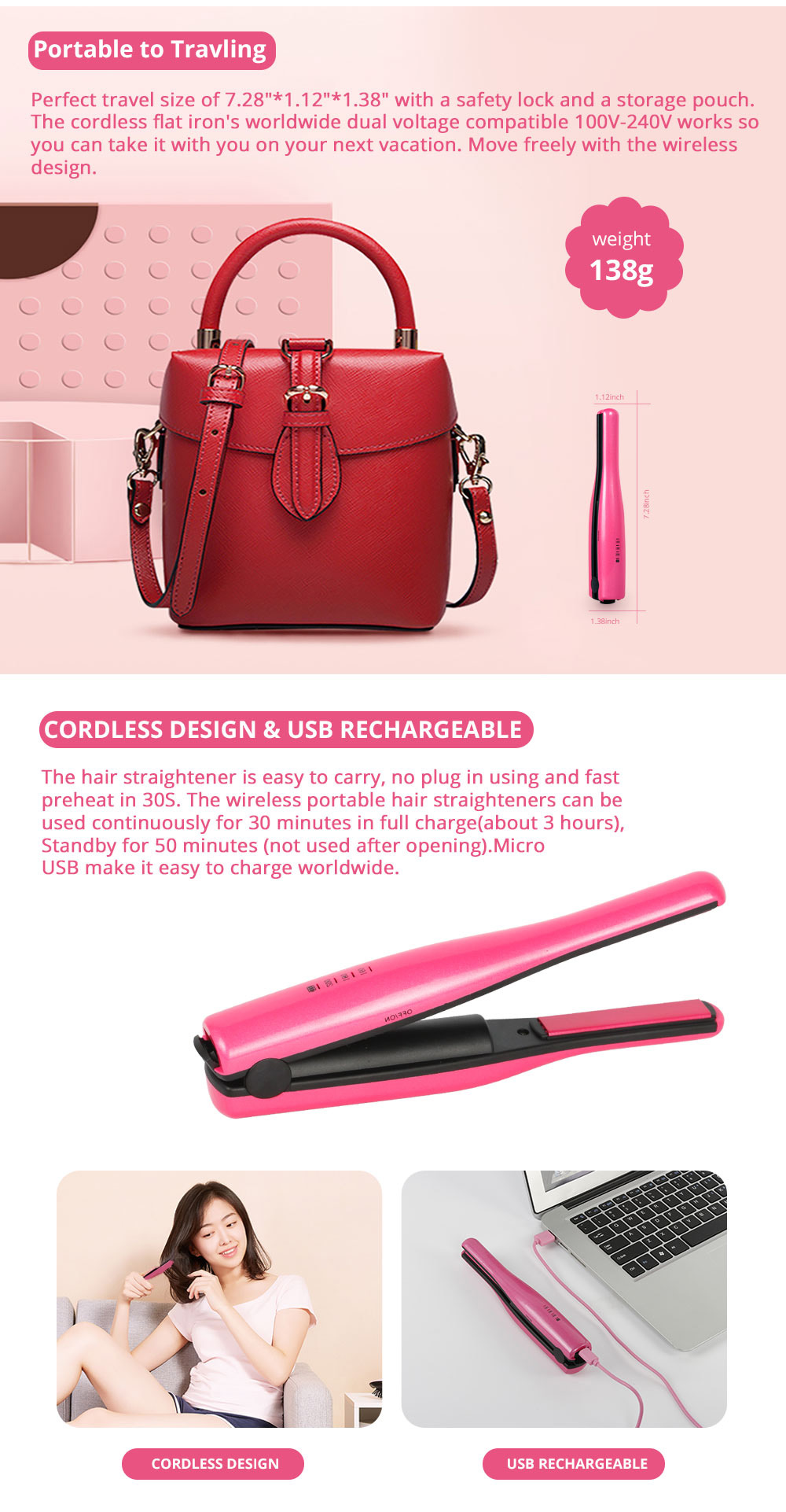 Mini Travel Portable Hair Straightener Curling Iron Cordless USB Charger for Beginner Christmas Gift BLACK FRIDAY SALE 1