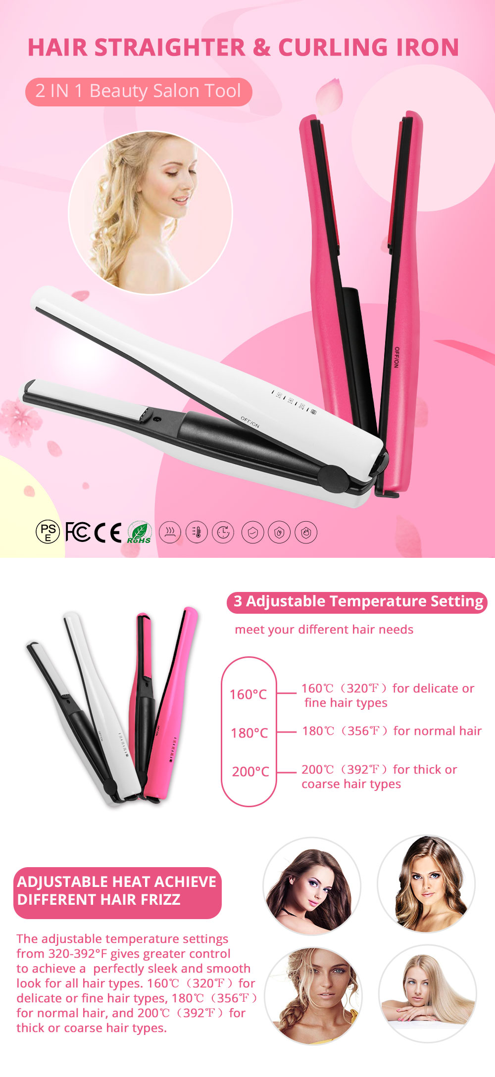 Mini Travel Portable Hair Straightener Curling Iron Cordless USB Charger for Beginner Christmas Gift BLACK FRIDAY SALE 0