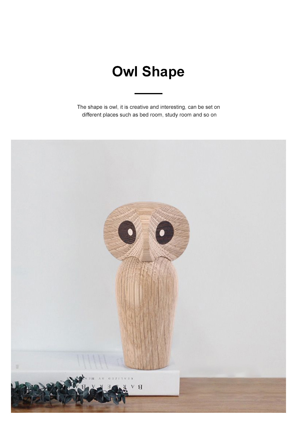 Nordic Style Home Decoration Crafts For Wooden Products Owl Oak Wood Creative Puppet 3