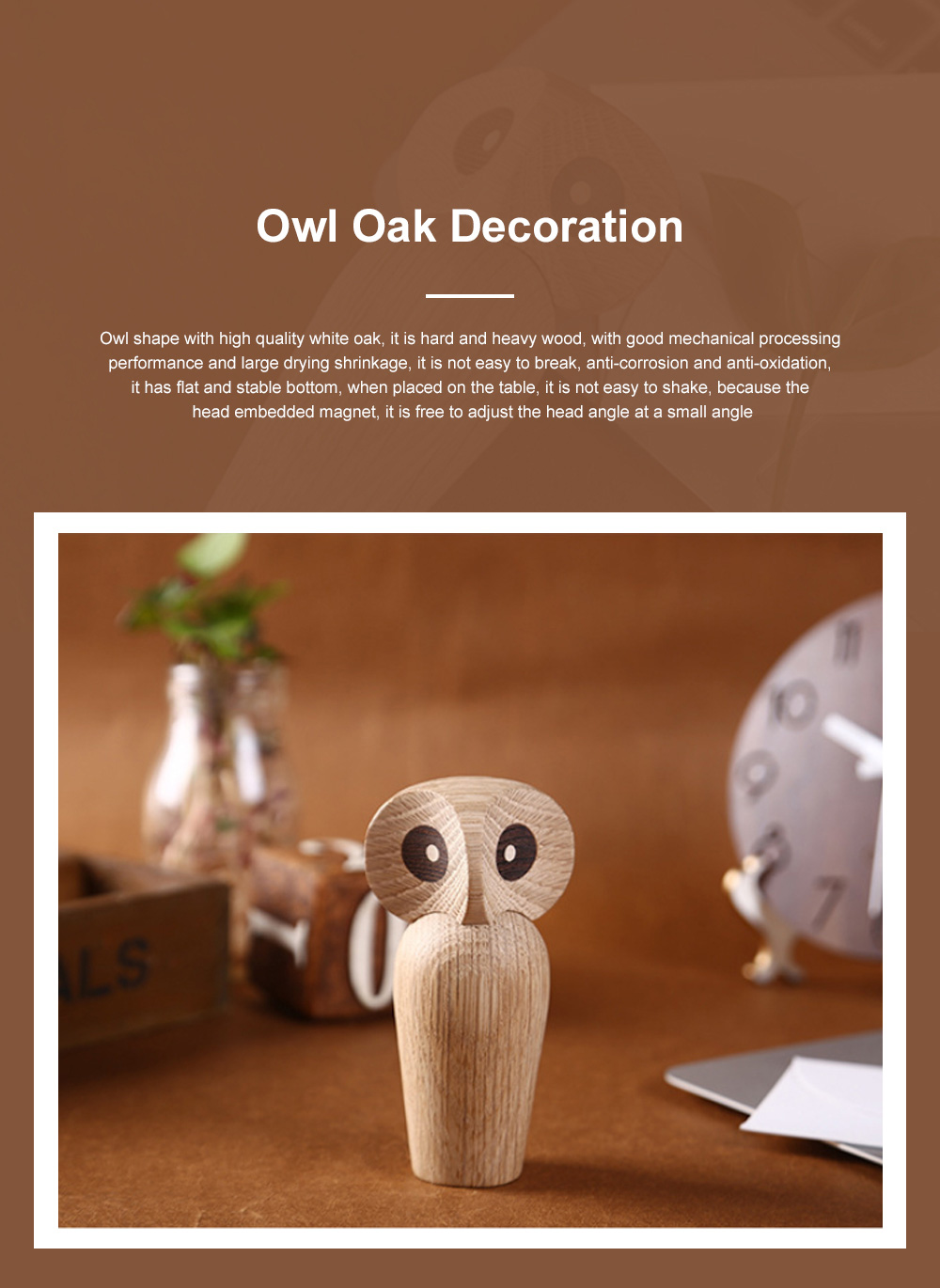 Nordic Style Home Decoration Crafts For Wooden Products Owl Oak Wood Creative Puppet 0