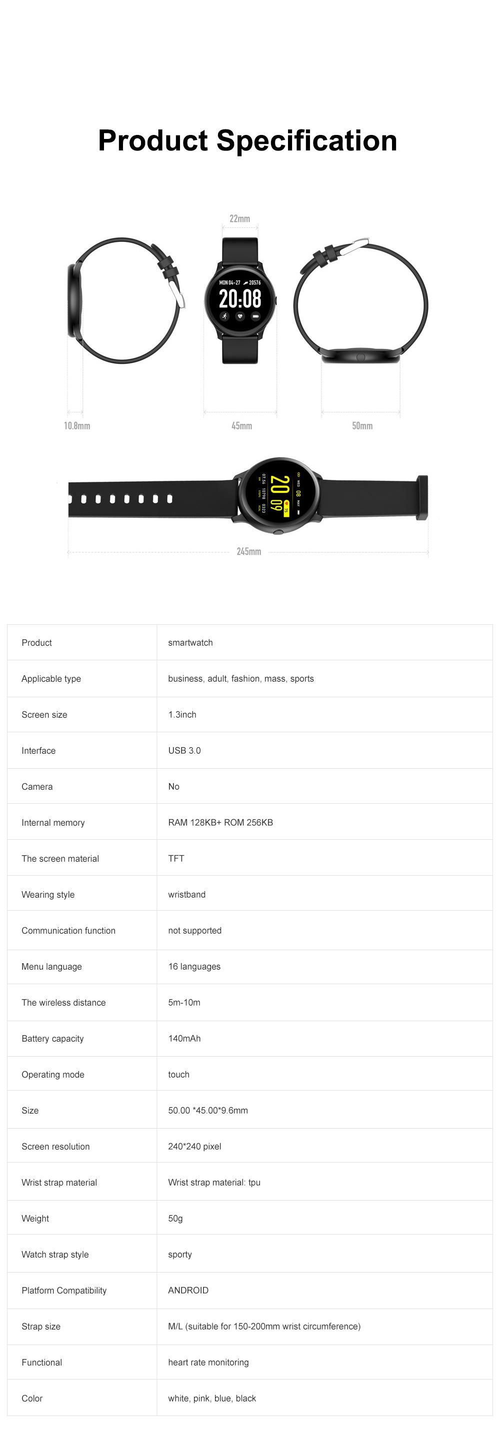 Smartwatch Bracelet Round Screen Heart Rate Meter Blood Pressure Blood Oxygen Sleep Monitoring Smart Watches for Men Women Sports Watch 6