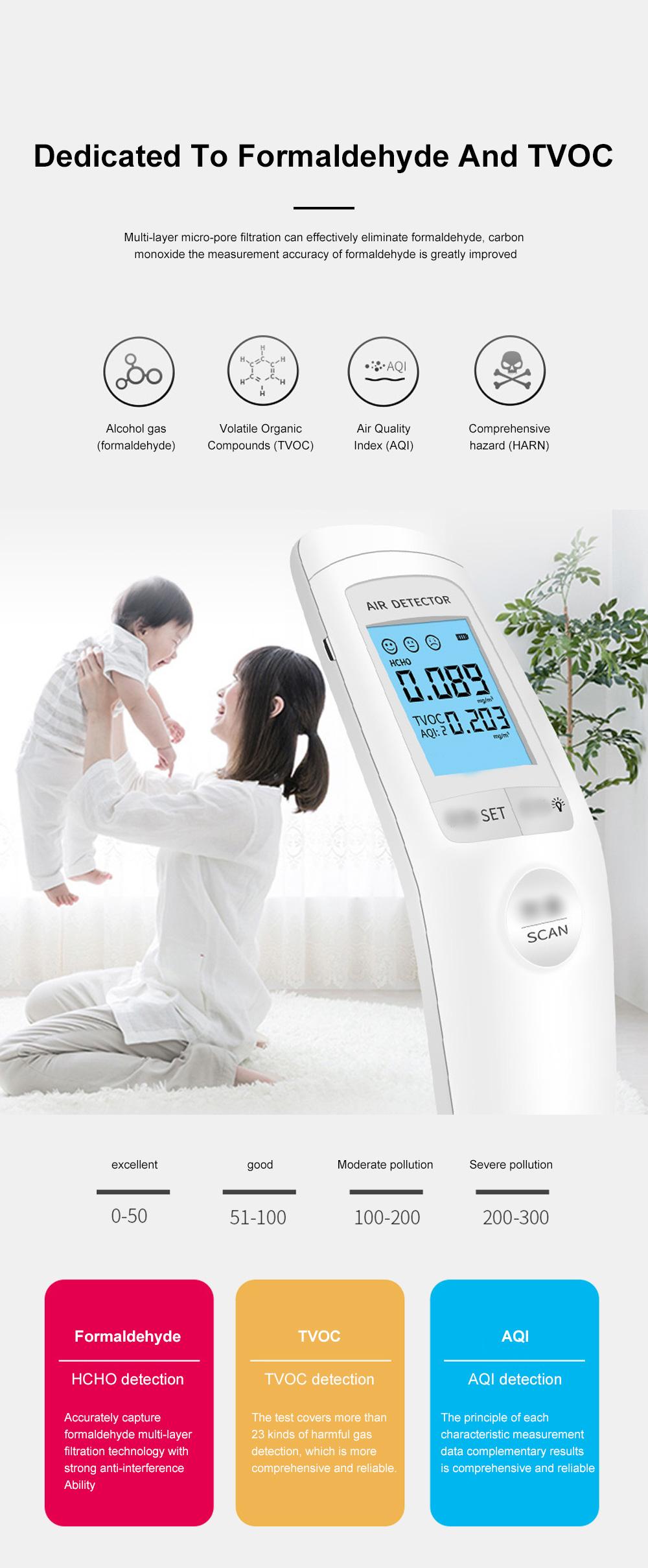 Smart Sensor Formaldehyde Air Quality Monitor Analyzer Temp Temperature Humidity Tester Gas Detector Meter 1