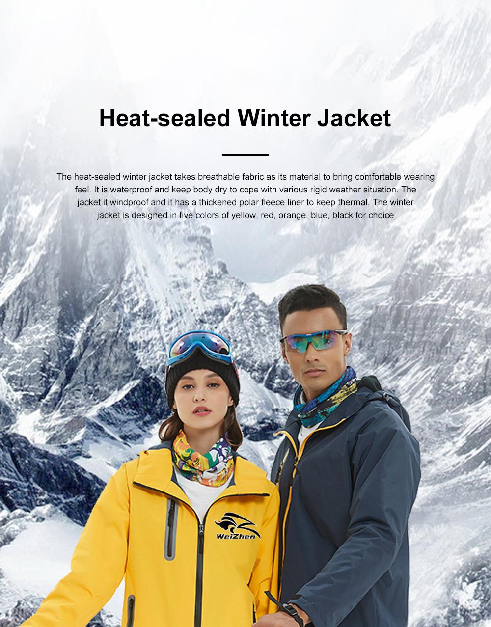 Lovers' Heat-sealed Winter Jacket for Outdoors Hiking Climbing Thickened Waterproof Interchange Jacket Polar Fleece Liner Outdoor Jacket 0