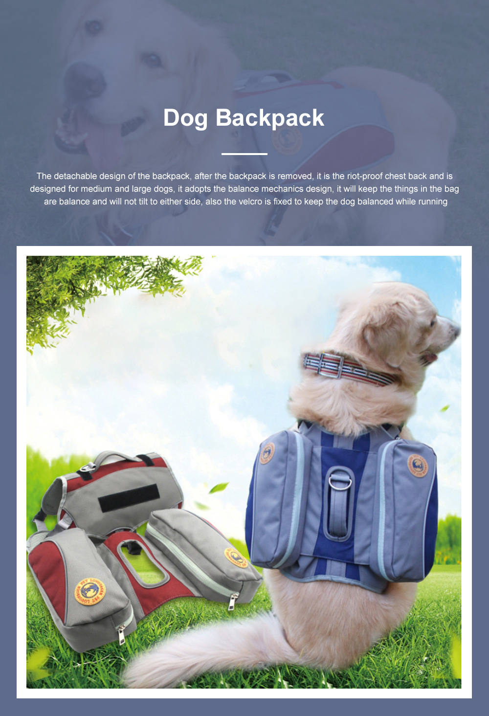 Multifunctional Dog Carrier Saddle Backpack Harness Outdoor Hiking Travel Pet Dog Backpack With Large Capacity 0