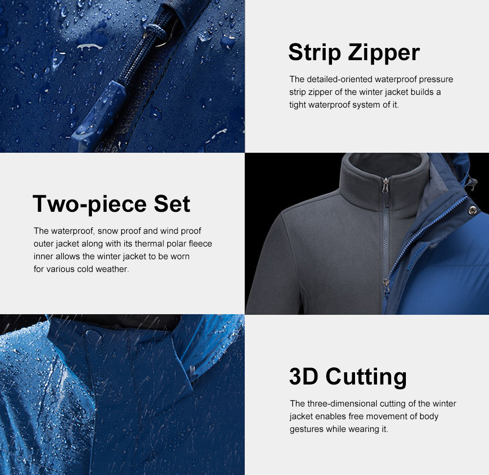Winter Jacket for Outdoors Climbing Skiing Thickened Thermal Interchange Jacket Three-in-one Two-piece Antiwear Waterproof Outdoor Jacket 6