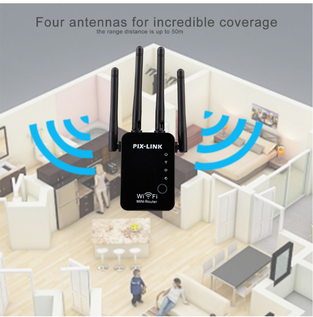 300Mbps WiFi Range Extender 2.4GHz Repeater Signal Booster with 4 External Antennas and Full Coverage WiFi 4