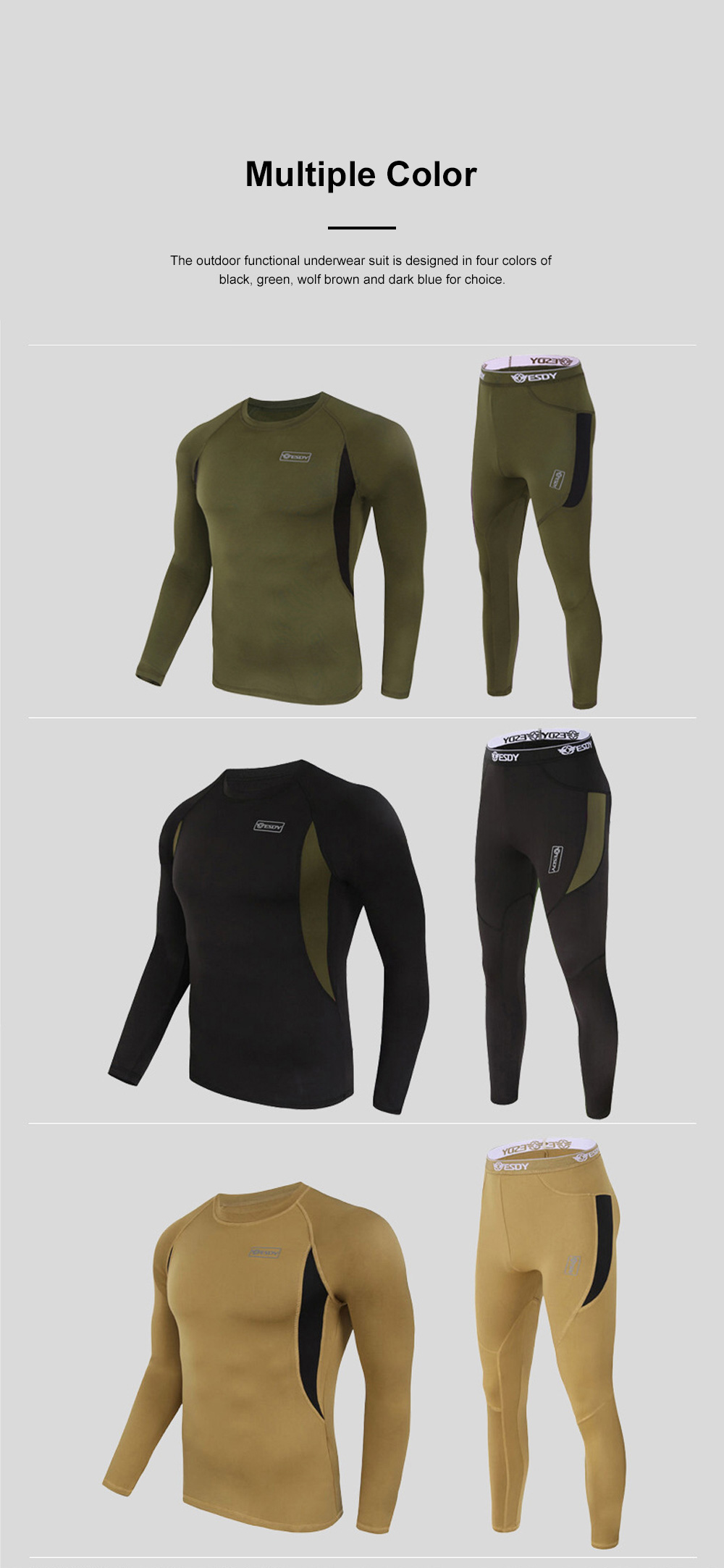 Outdoor Functional Underwear Suit for Outdoors Climbing Bicycle Riding Thermal Fleece Underwear Sweat Suit PT Uniform 6
