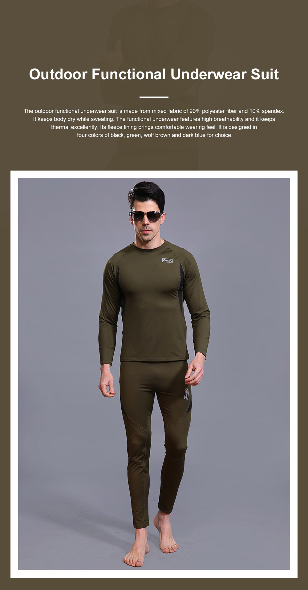 Outdoor Functional Underwear Suit for Outdoors Climbing Bicycle Riding Thermal Fleece Underwear Sweat Suit PT Uniform 0