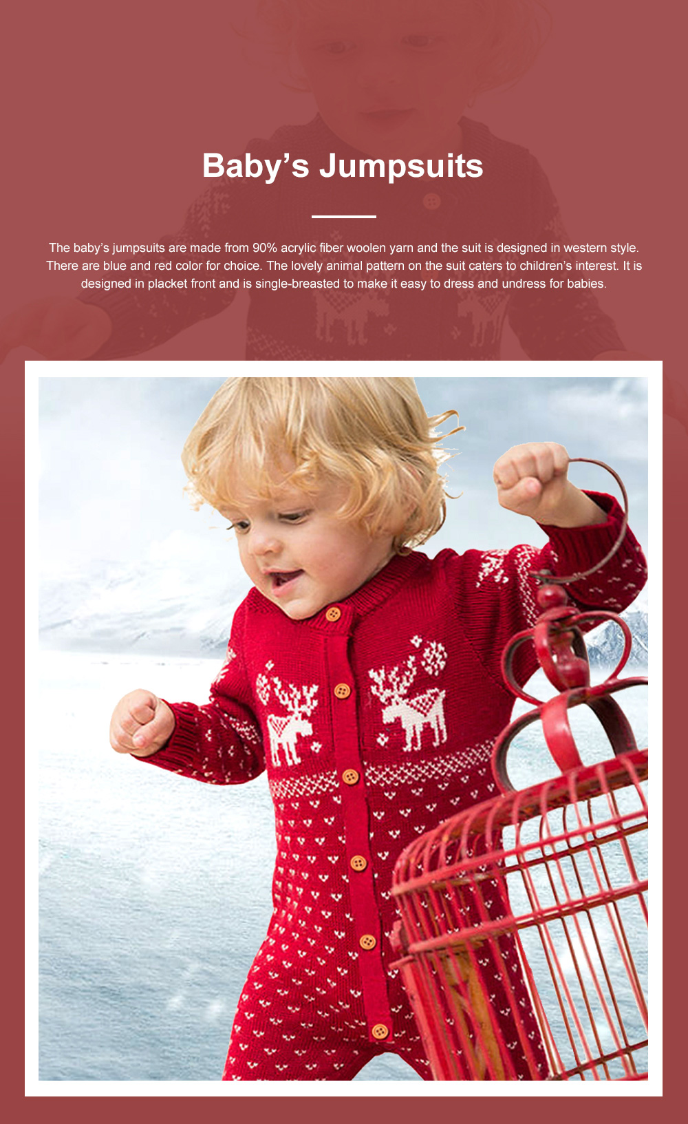 Jumpsuits for Babies and Young Children Knitted Woolen Yarn Coveralls Kids' Wear One-piece Bodysuit 0