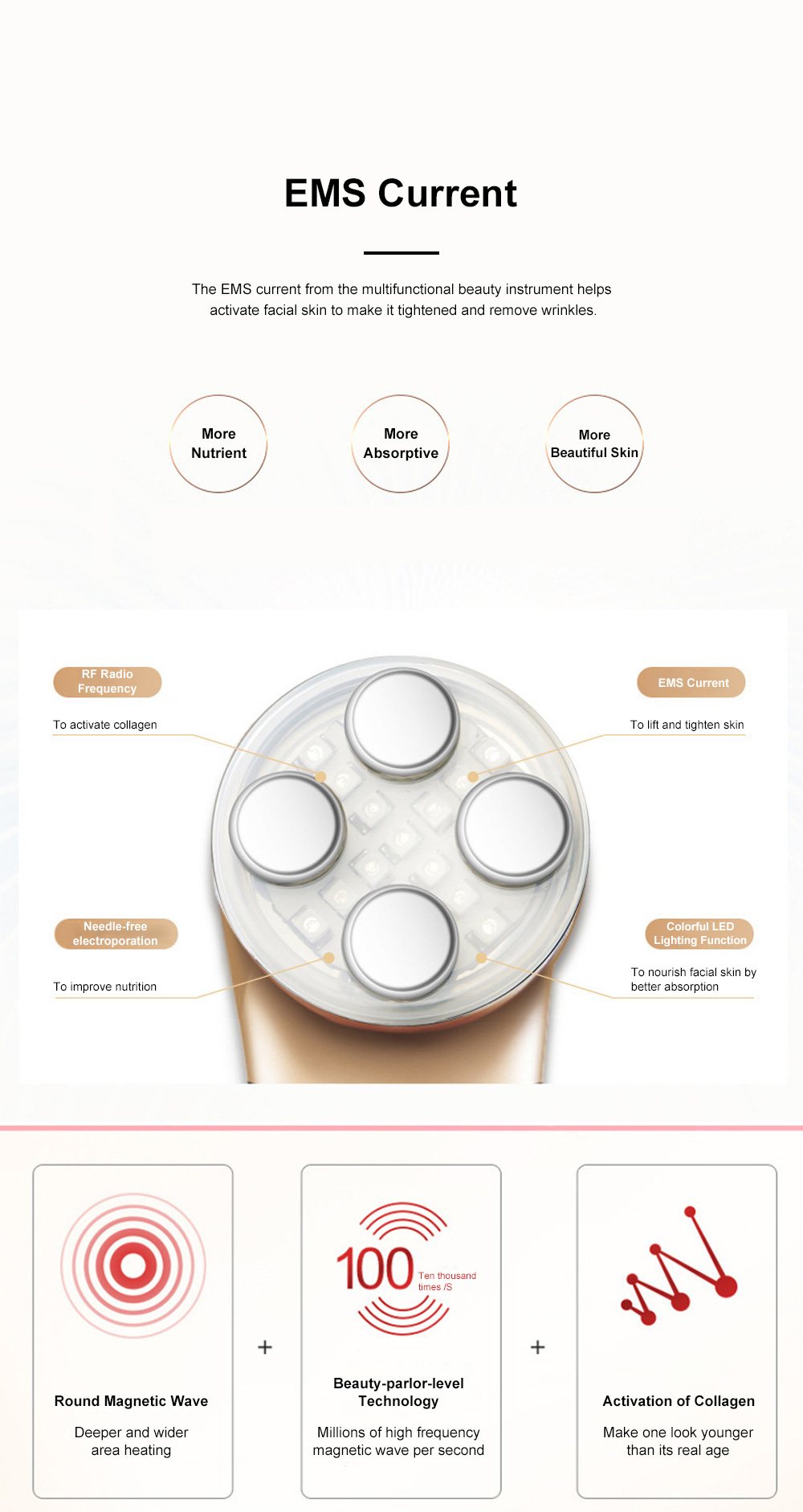 Home Use Circular Magnetic Wave Skin Care Instrument Multifunctional Beauty Instrument 