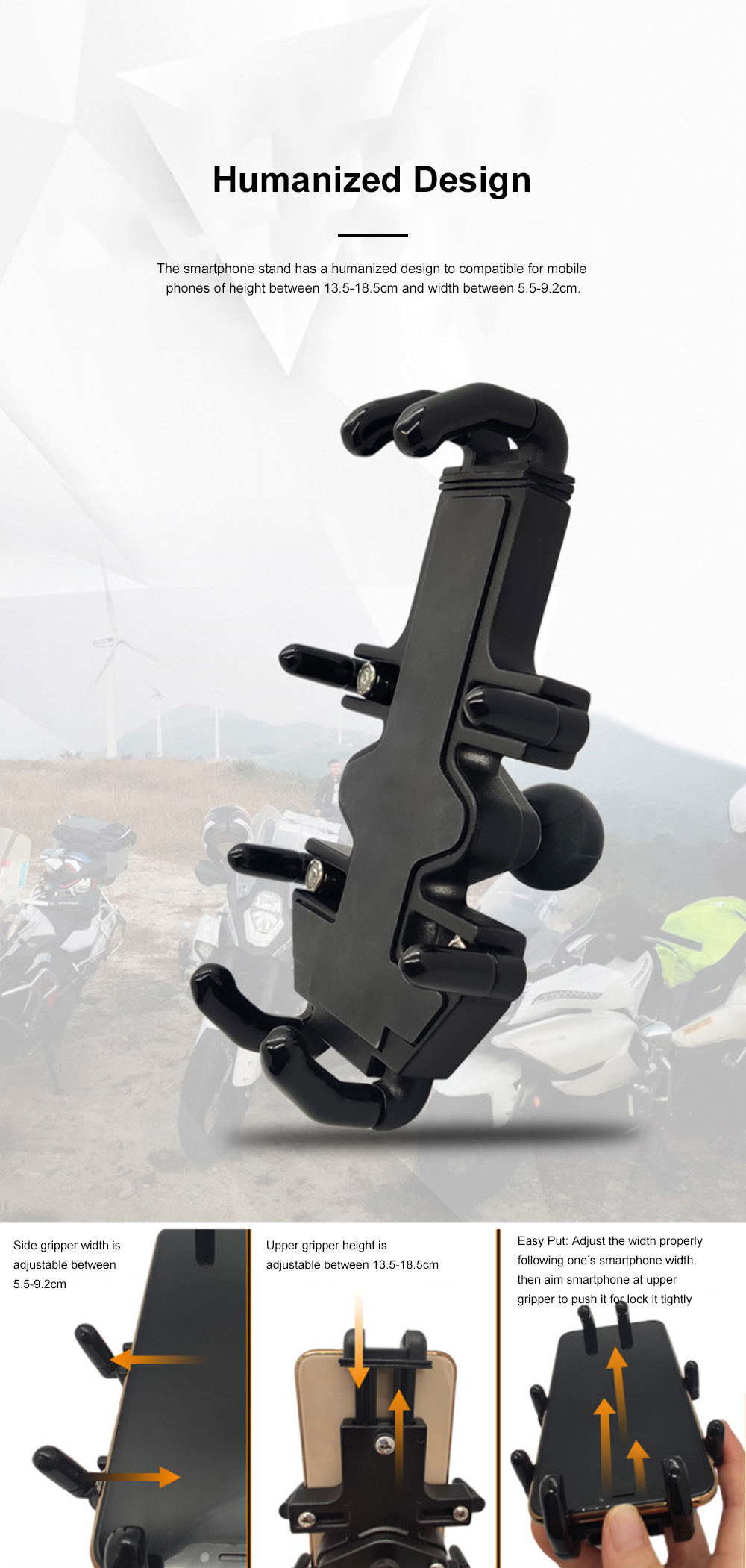 Smartphone Stand for Motorbike Riding and More Multifunctional Metal Support Aluminum Alloy Stand 1