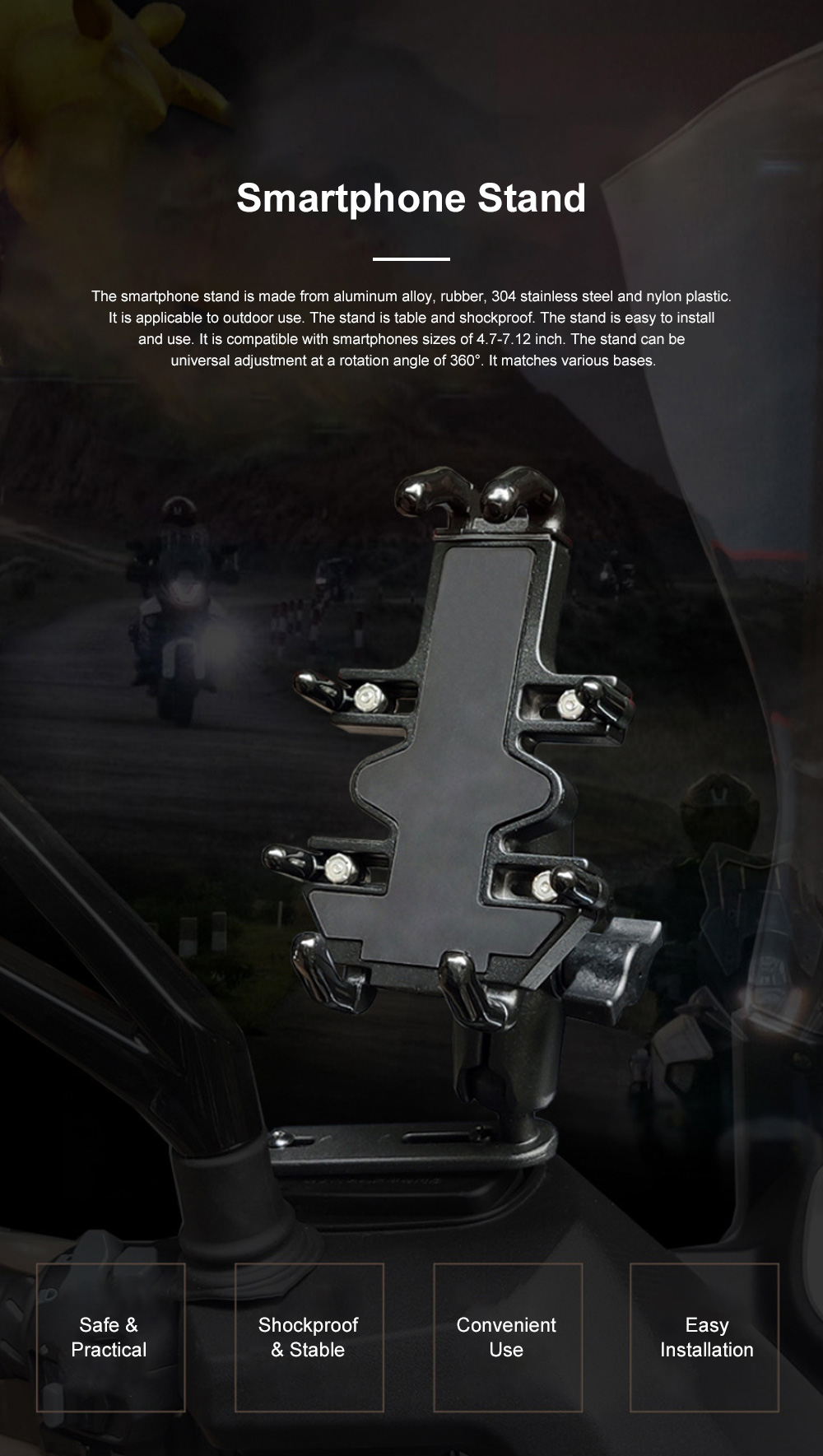 Smartphone Stand for Motorbike Riding and More Multifunctional Metal Support Aluminum Alloy Stand 0