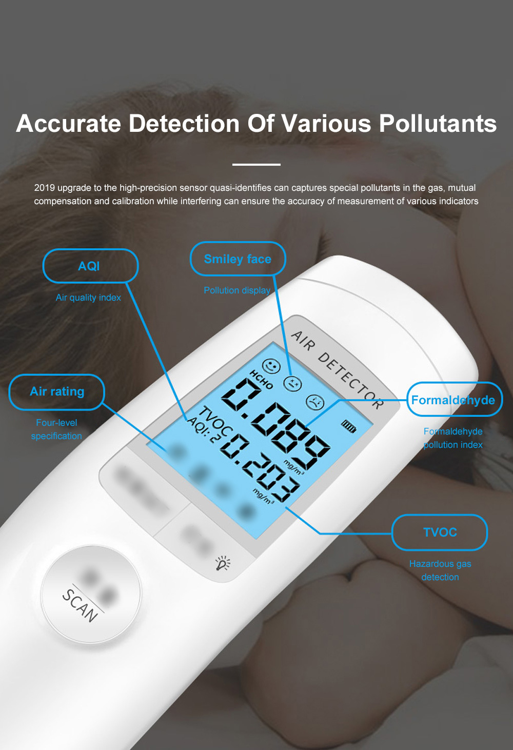 Smart Sensor Formaldehyde Air Quality Monitor Analyzer Temp Temperature Humidity Tester Gas Detector Meter 2