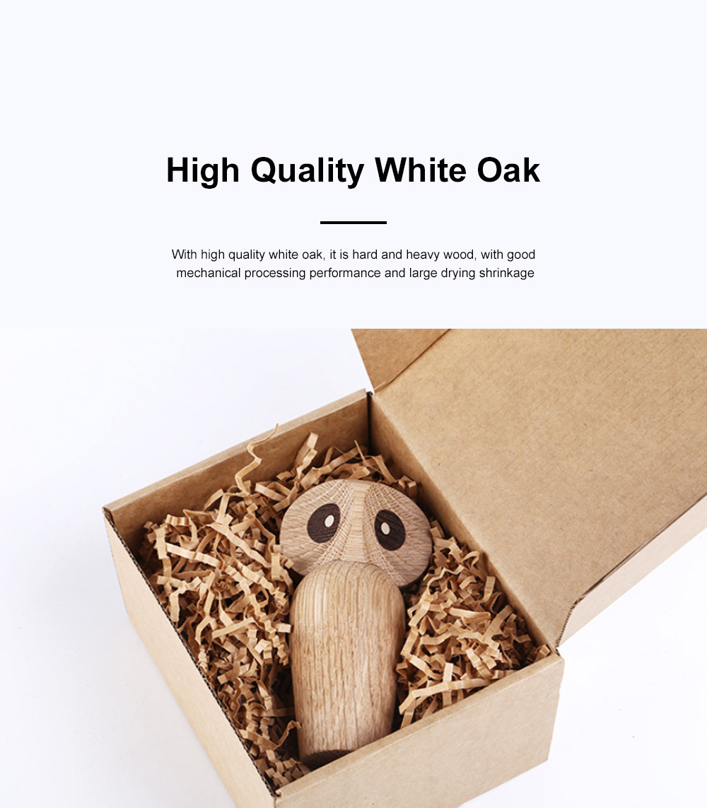 Nordic Style Home Decoration Crafts For Wooden Products Owl Oak Wood Creative Puppet 5