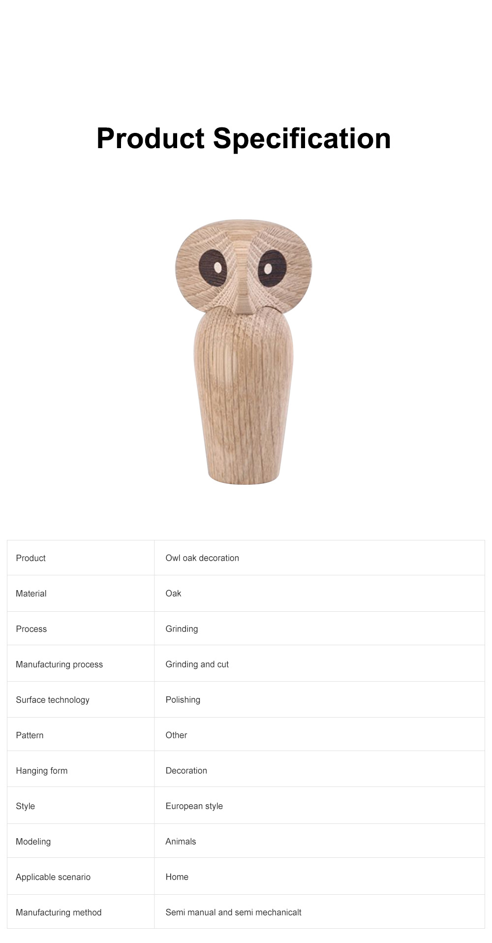 Nordic Style Home Decoration Crafts For Wooden Products Owl Oak Wood Creative Puppet 6