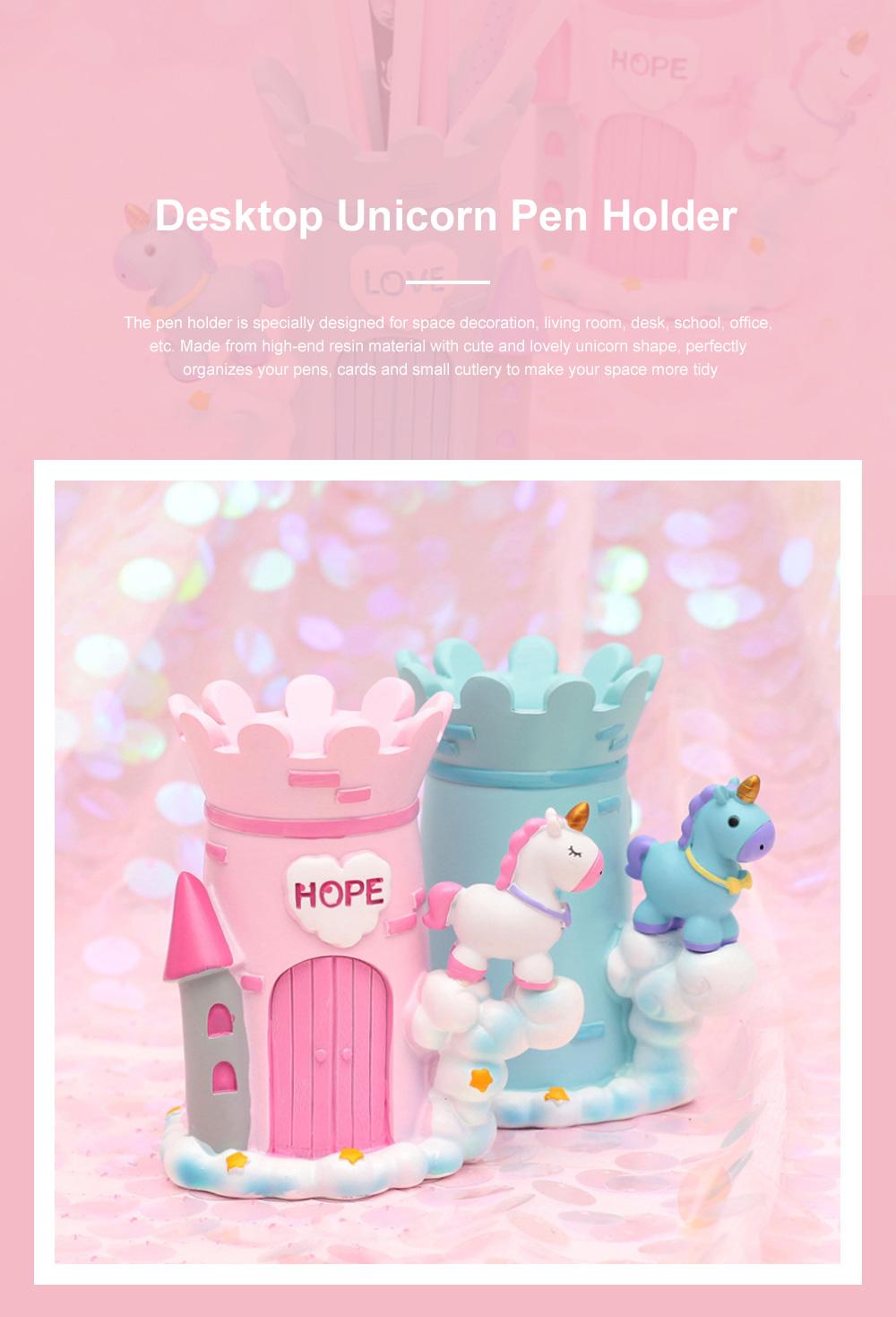 Unicorn Pen Holder for Desktop Desk Office Home School Girls School Supplies Accessories Resin Brush Container Pencil Container Brush Holder 0