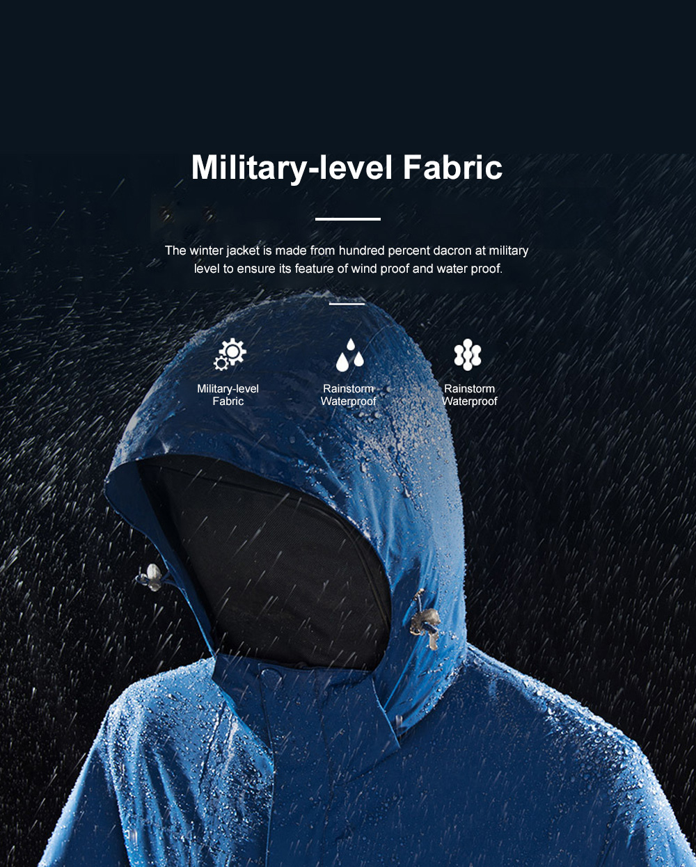 Winter Jacket for Outdoors Climbing Skiing Thickened Thermal Interchange Jacket Three-in-one Two-piece Antiwear Waterproof Outdoor Jacket 2