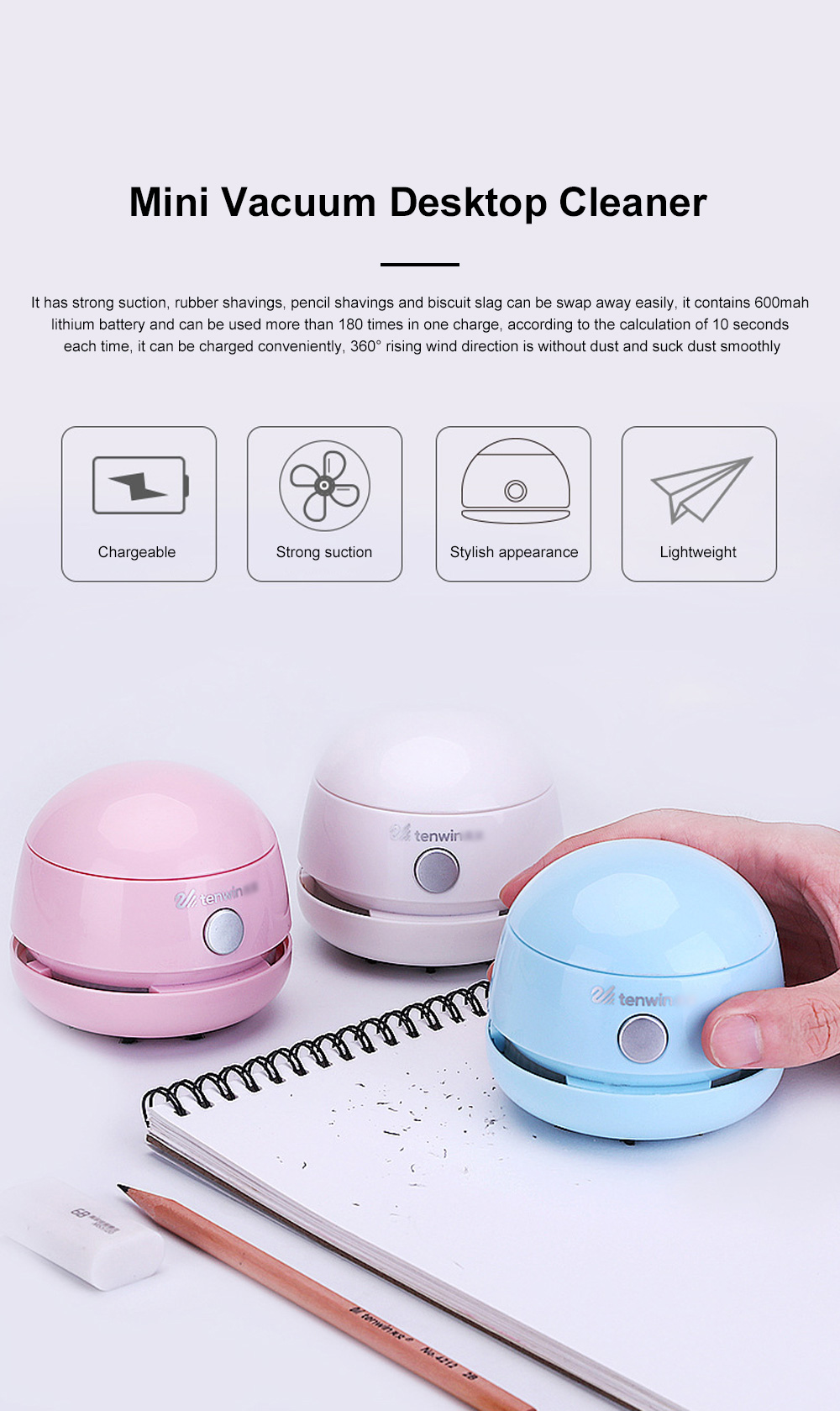 Mini Vacuum Cleaner Desktop Office Cleaner Easily Inhaled Paper Dust Suction Strong And Convenient 0