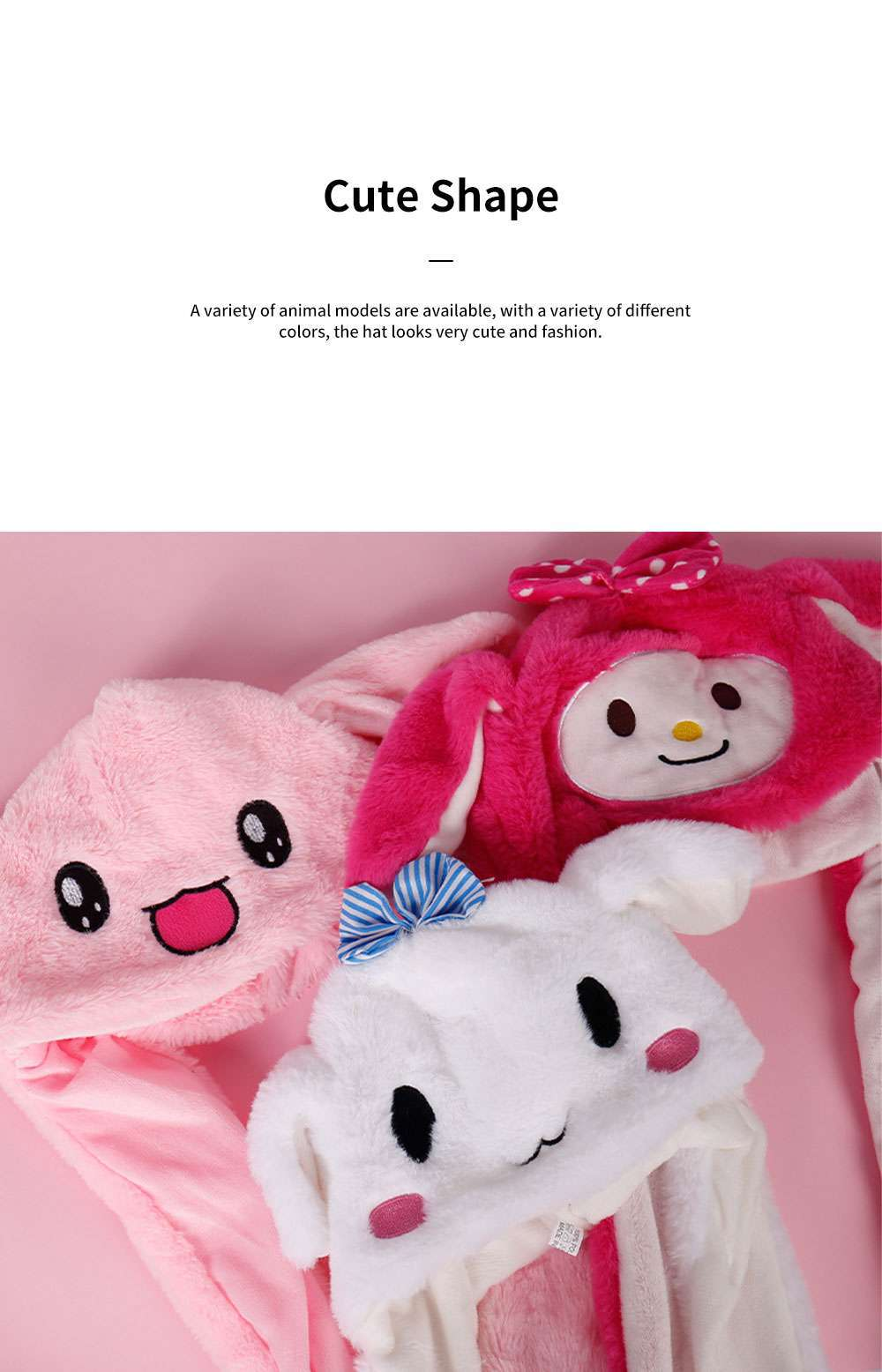 Cute Rabbit Hat Windproof Funny Plush Bunny Cap with Ears Pop Up and Colorful Light for Women Girls Christmas Gift 4