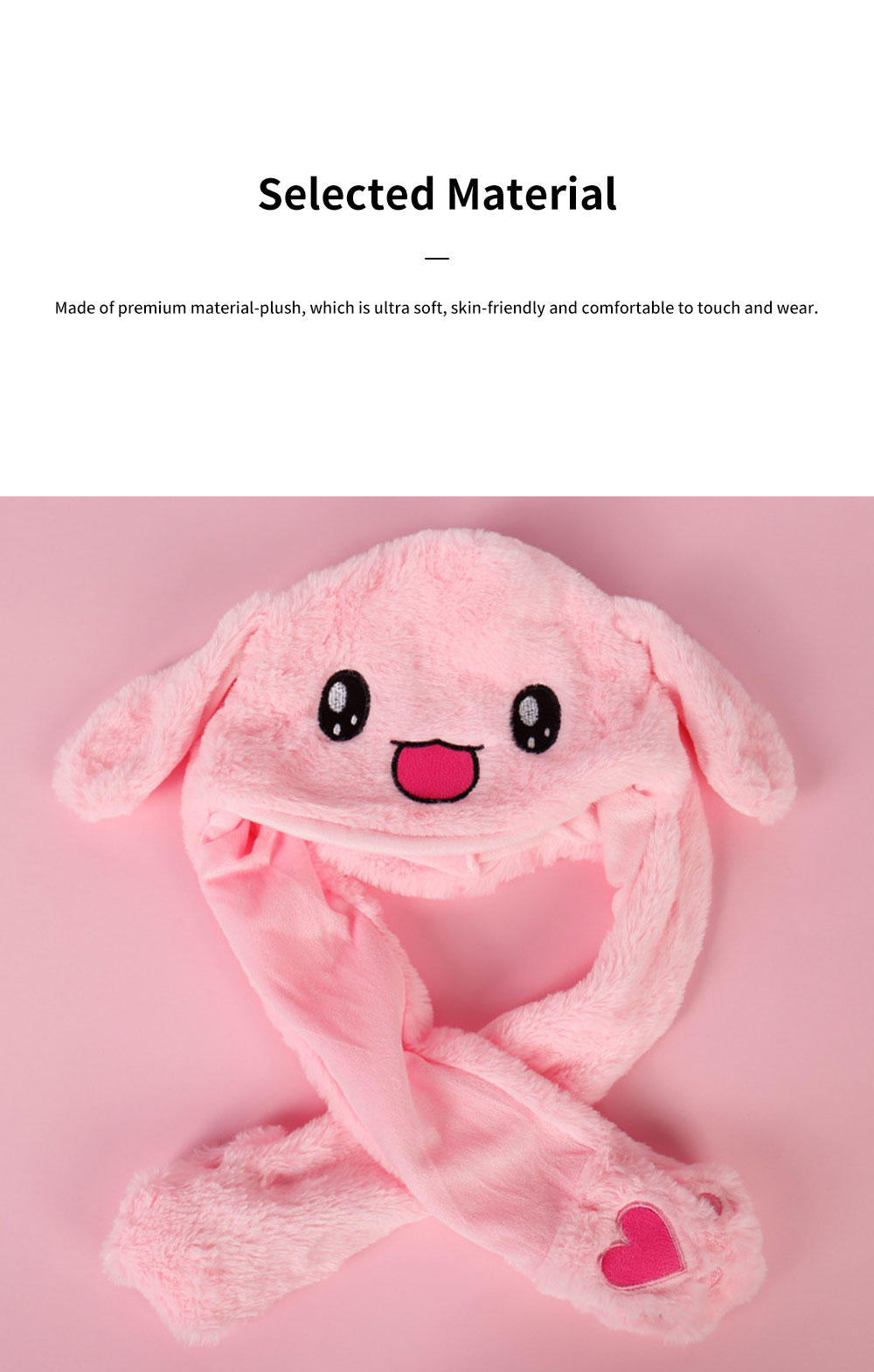 Cute Rabbit Hat Windproof Funny Plush Bunny Cap with Ears Pop Up and Colorful Light for Women Girls Christmas Gift 1
