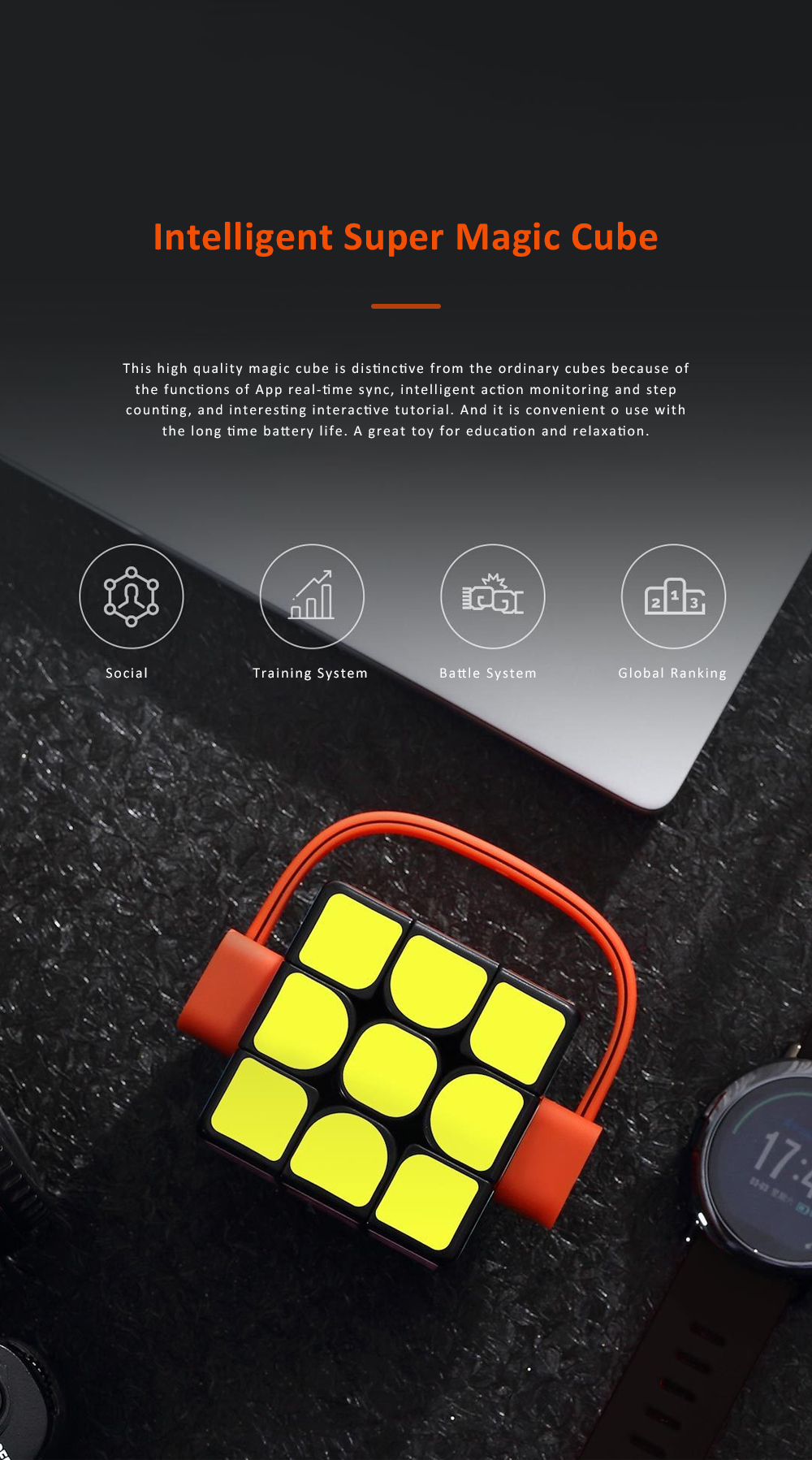 MI GIIKER Intelligent Super Cube Smart Magic Cube with Bluetooth Connection Real-time Sync for Education and Playing 0
